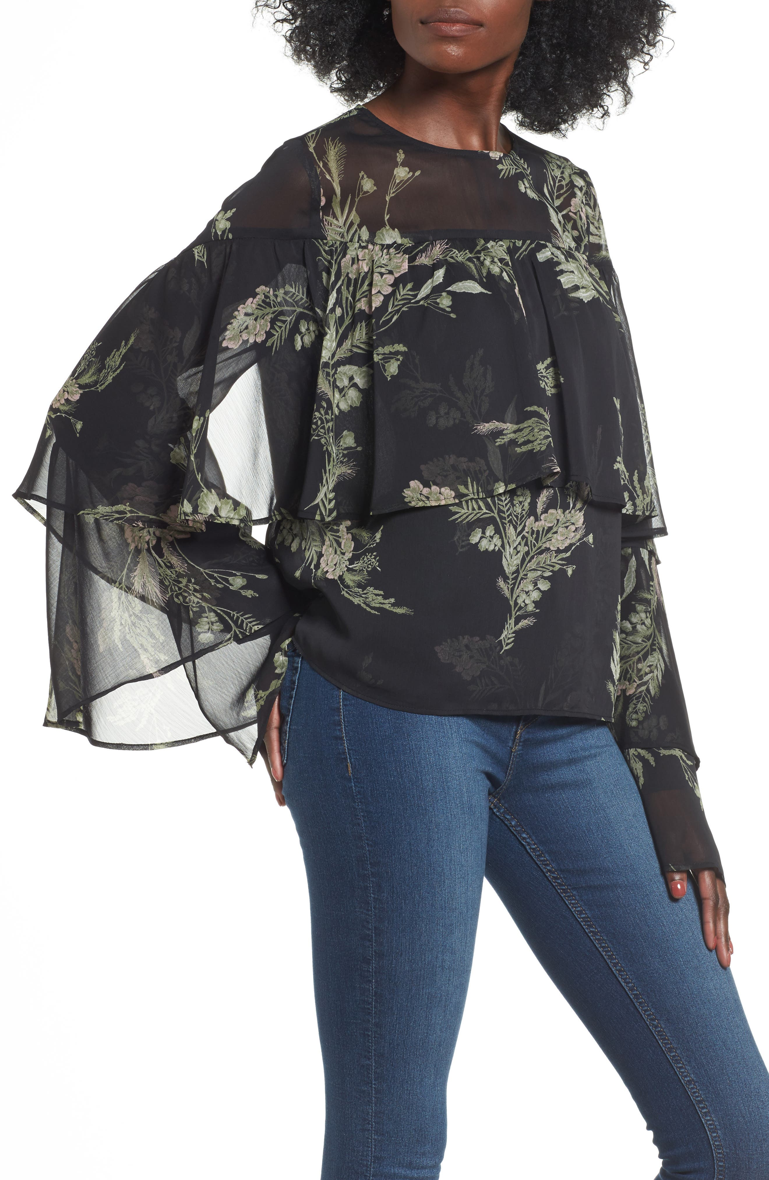 Tiered Flounce Top,                             Main thumbnail 1, color,                             Black Whispy Floral