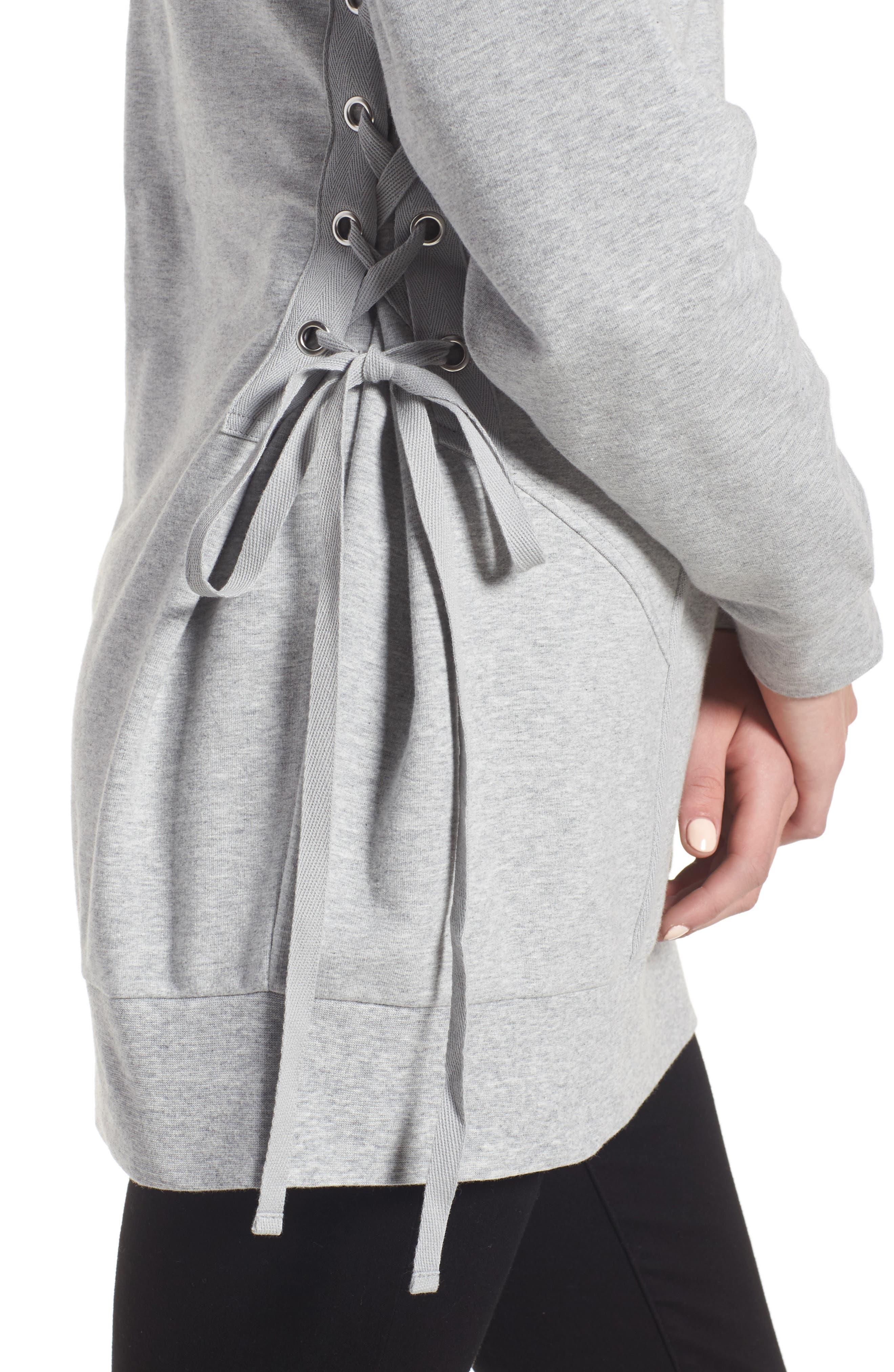 Corset Sweatshirt,                             Alternate thumbnail 4, color,                             Grey Heather
