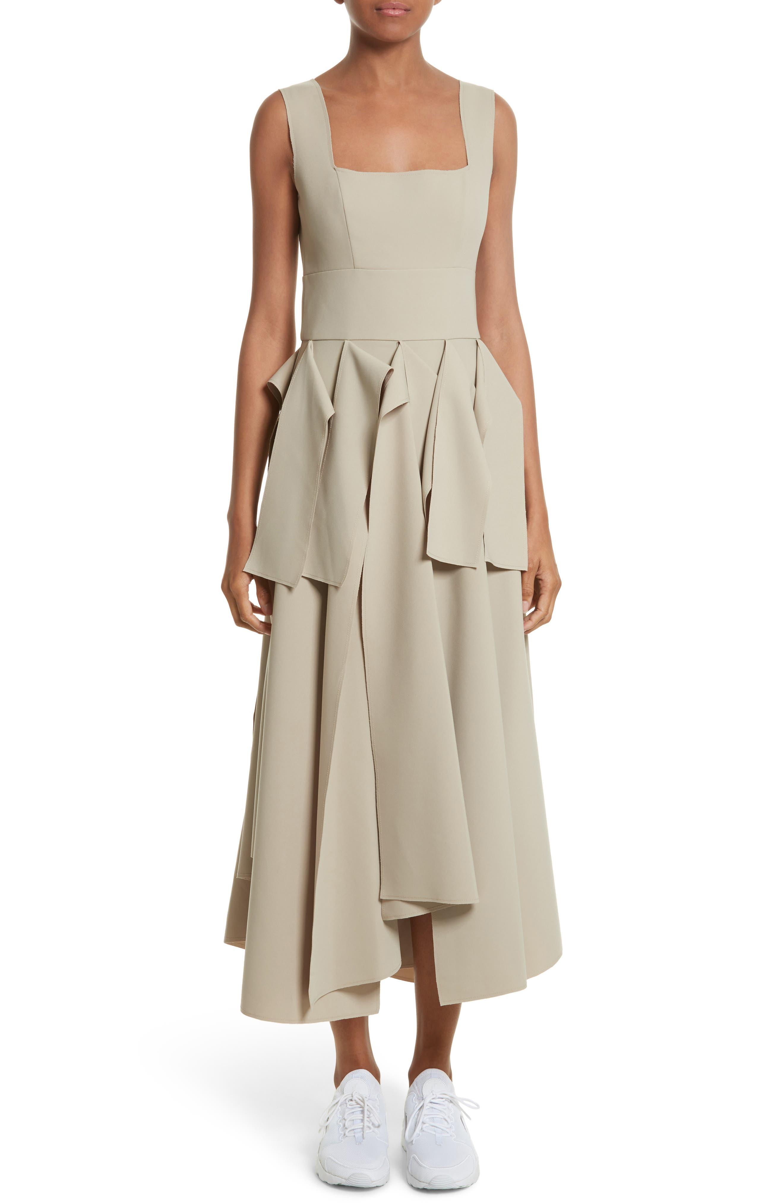 A.W.A.K.E. Asymmetric Panel Midi Dress
