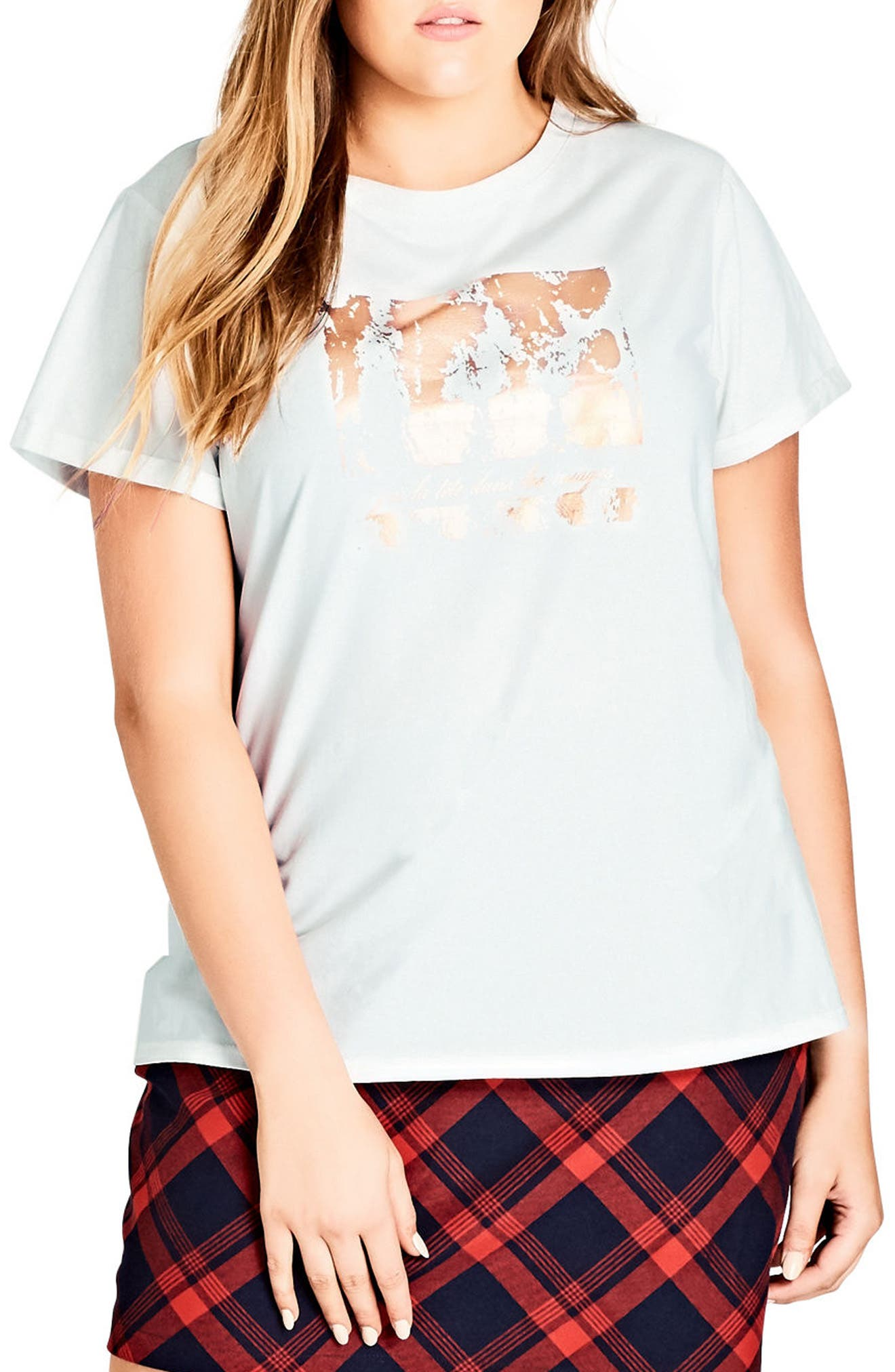 Alternate Image 1 Selected - City Chic Clouds Tee (Plus Size)