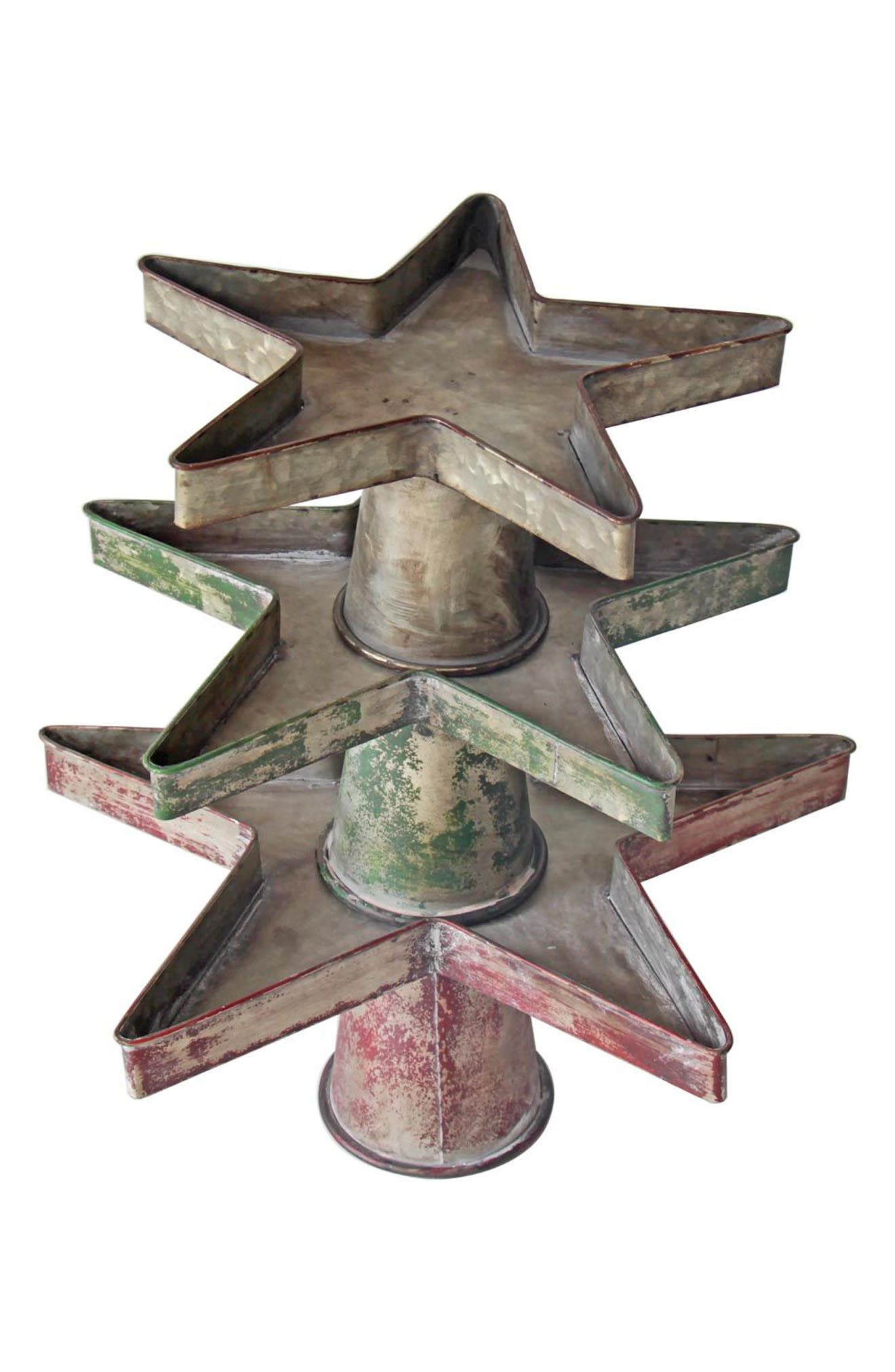 Set of 3 Stackable Galvanized Metal Star Trays,                         Main,                         color, Metal/ Red/ Green