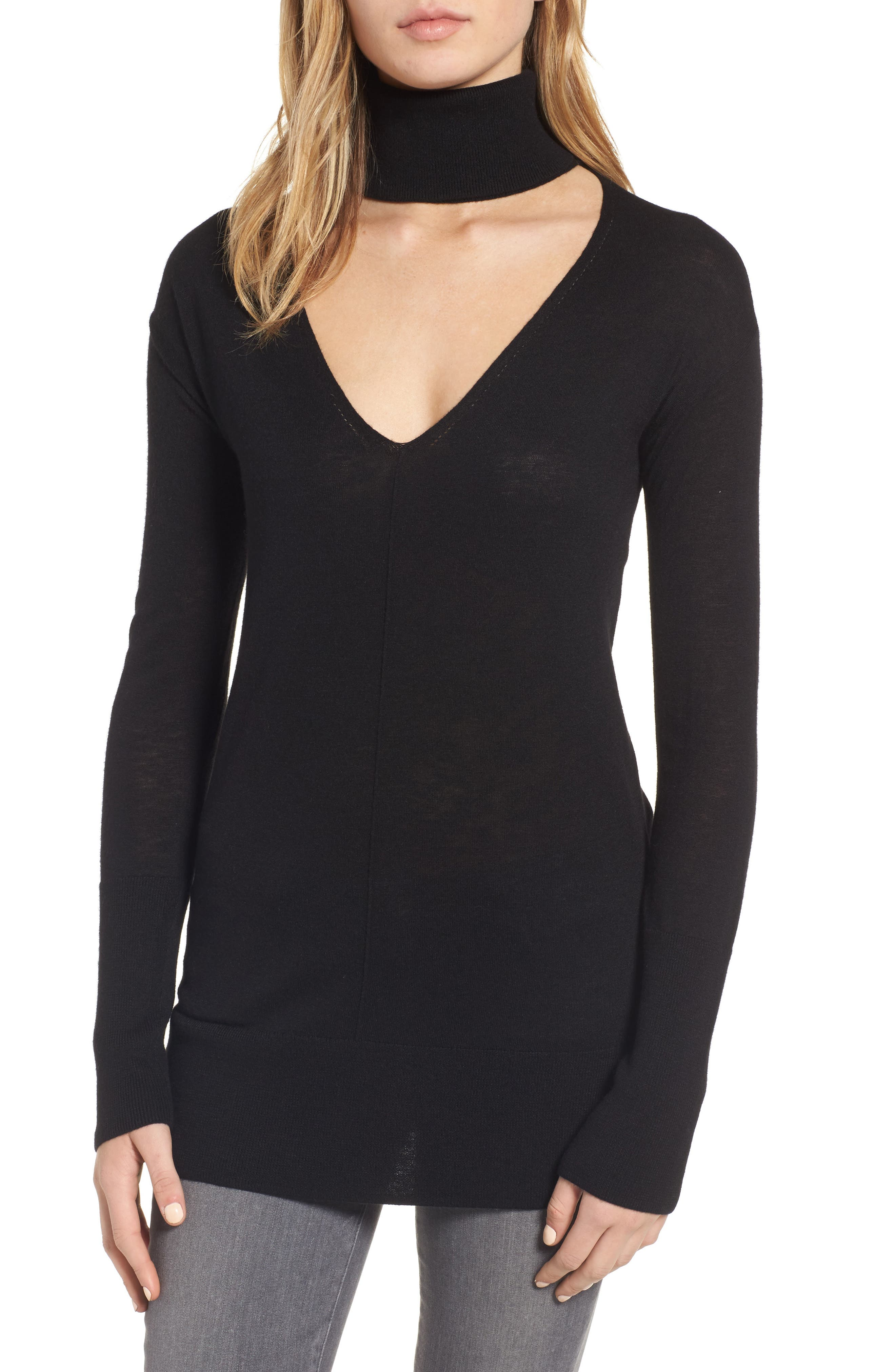 Main Image - Trouvé Choker Turtleneck Sweater