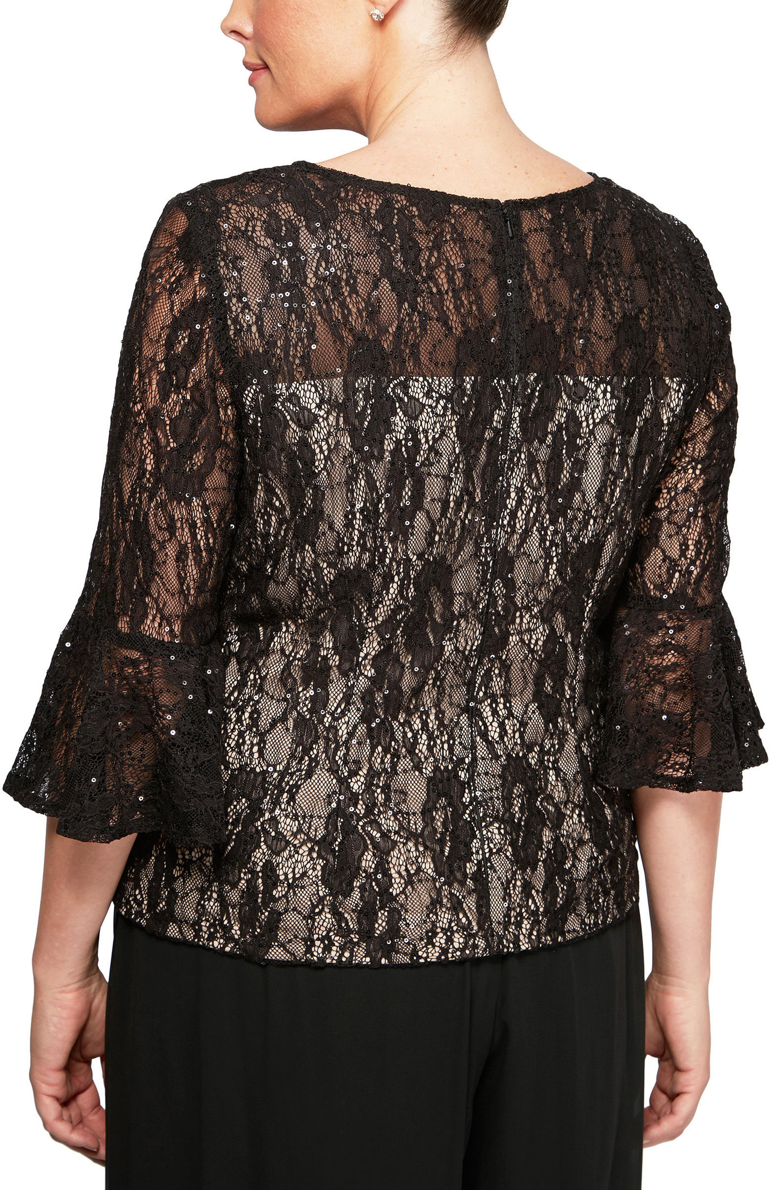 Bell Sleeve Sequin Lace Blouse,                             Alternate thumbnail 2, color,                             Black/ Nude