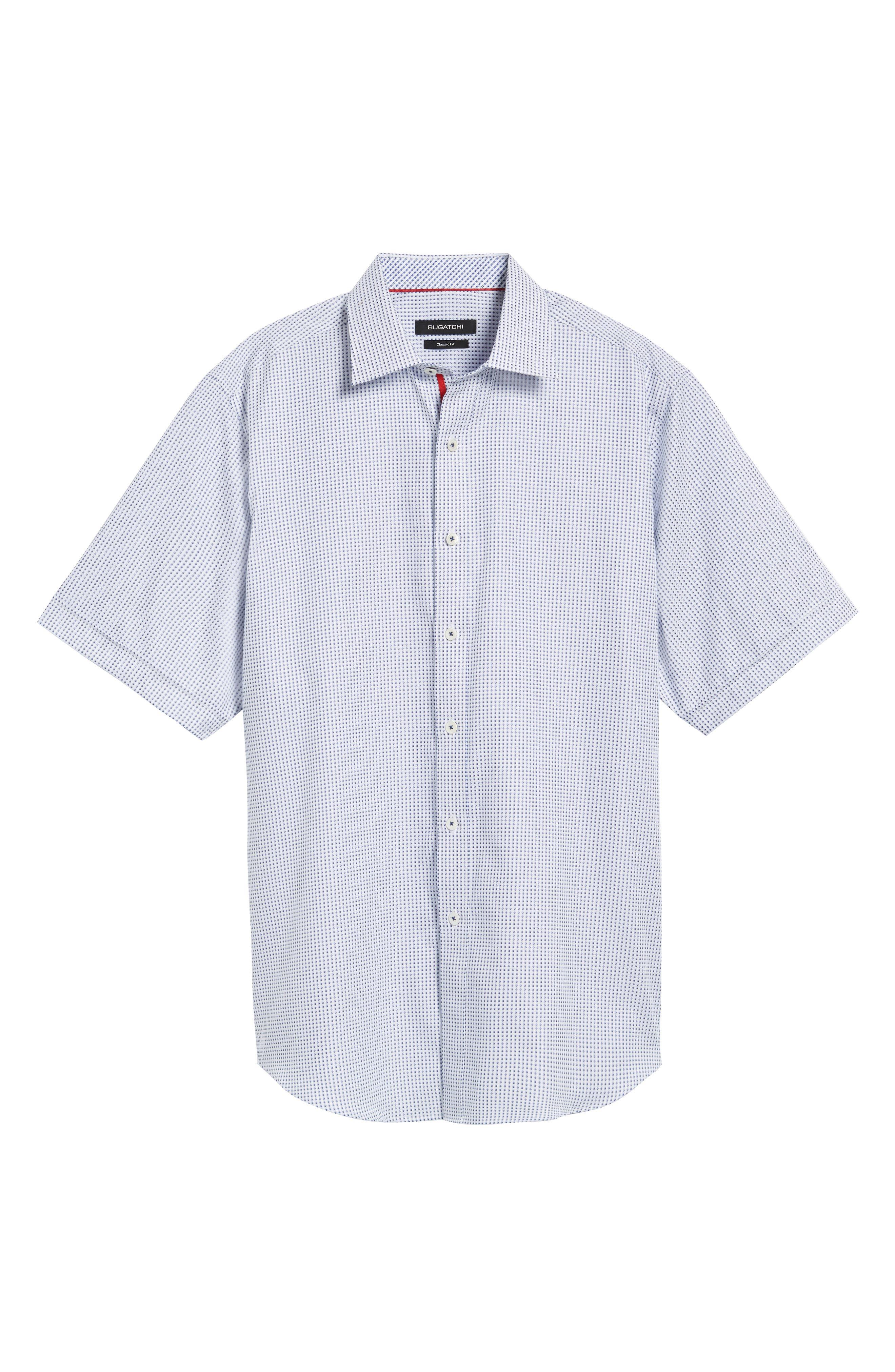 Classic Fit Dot Sport Shirt,                             Alternate thumbnail 6, color,                             Navy