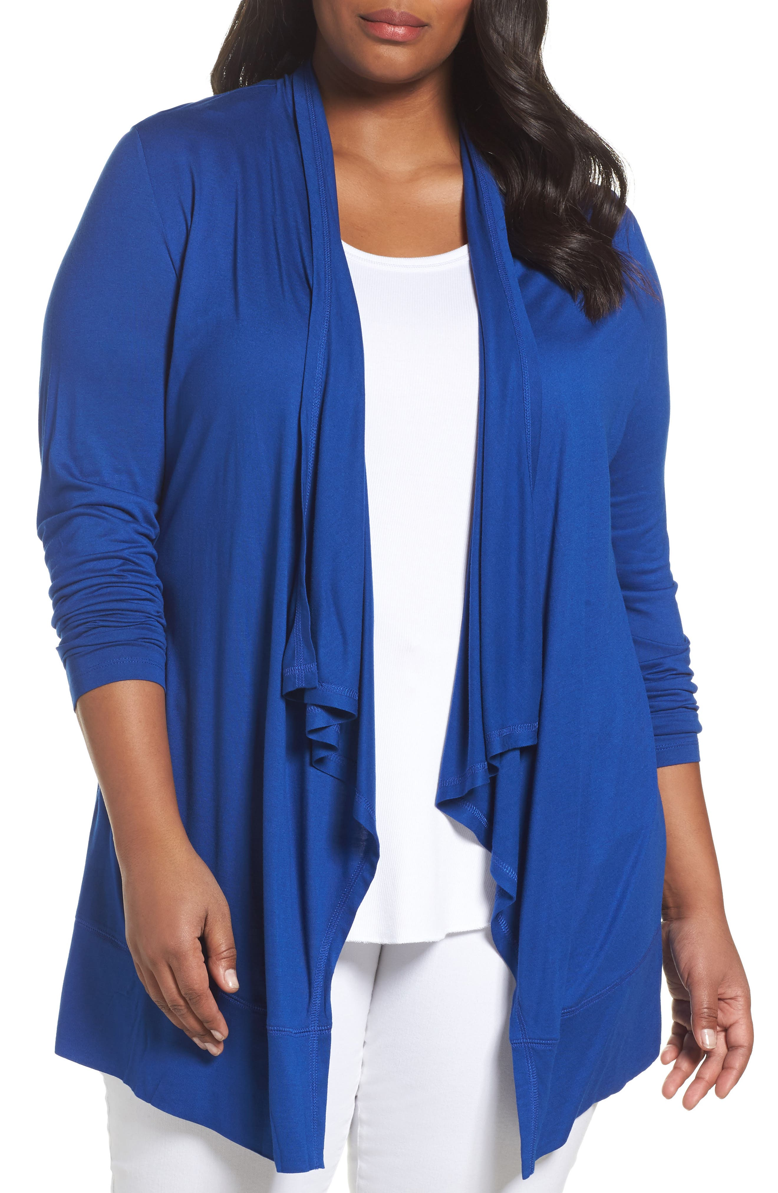 Alternate Image 1 Selected - Sejour Open Front Cardigan (Plus Size)
