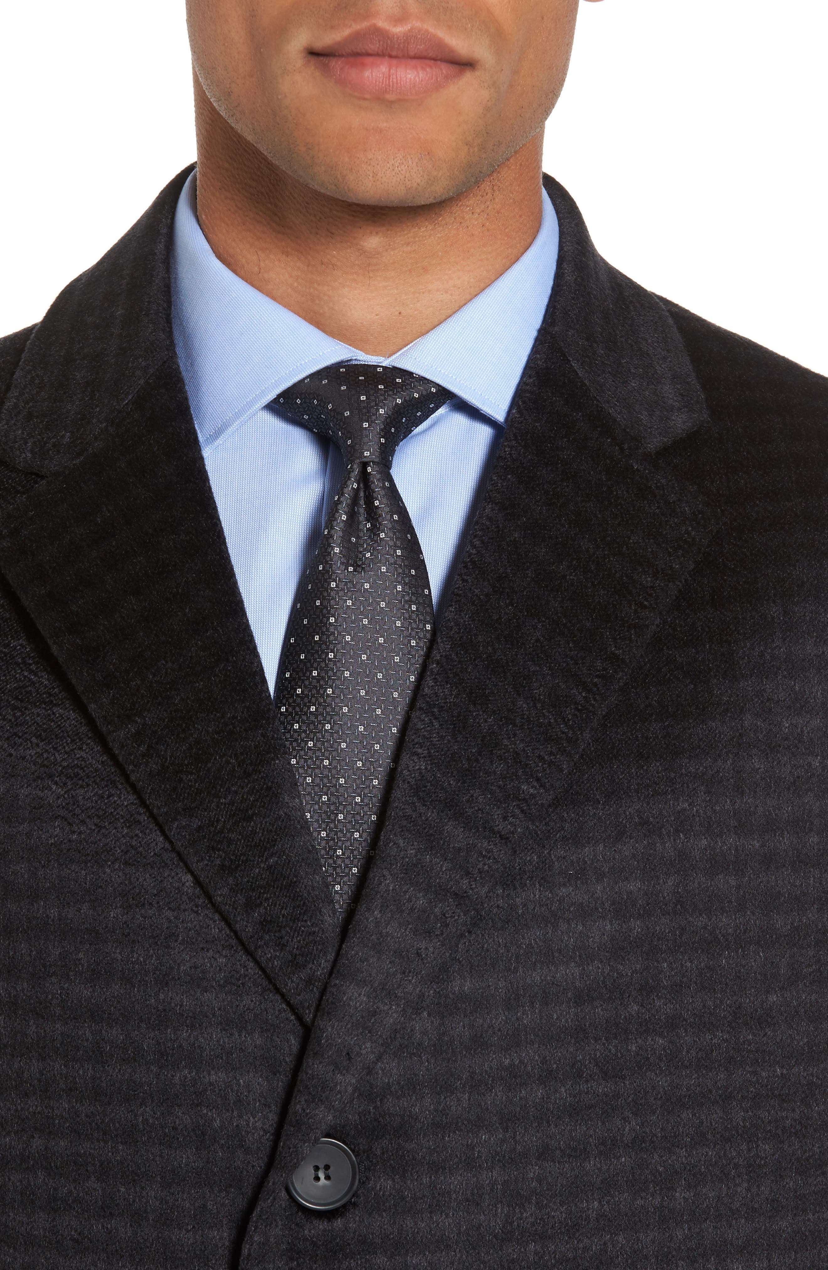 Cameron Check Cashmere Overcoat,                             Alternate thumbnail 4, color,                             Charcoal