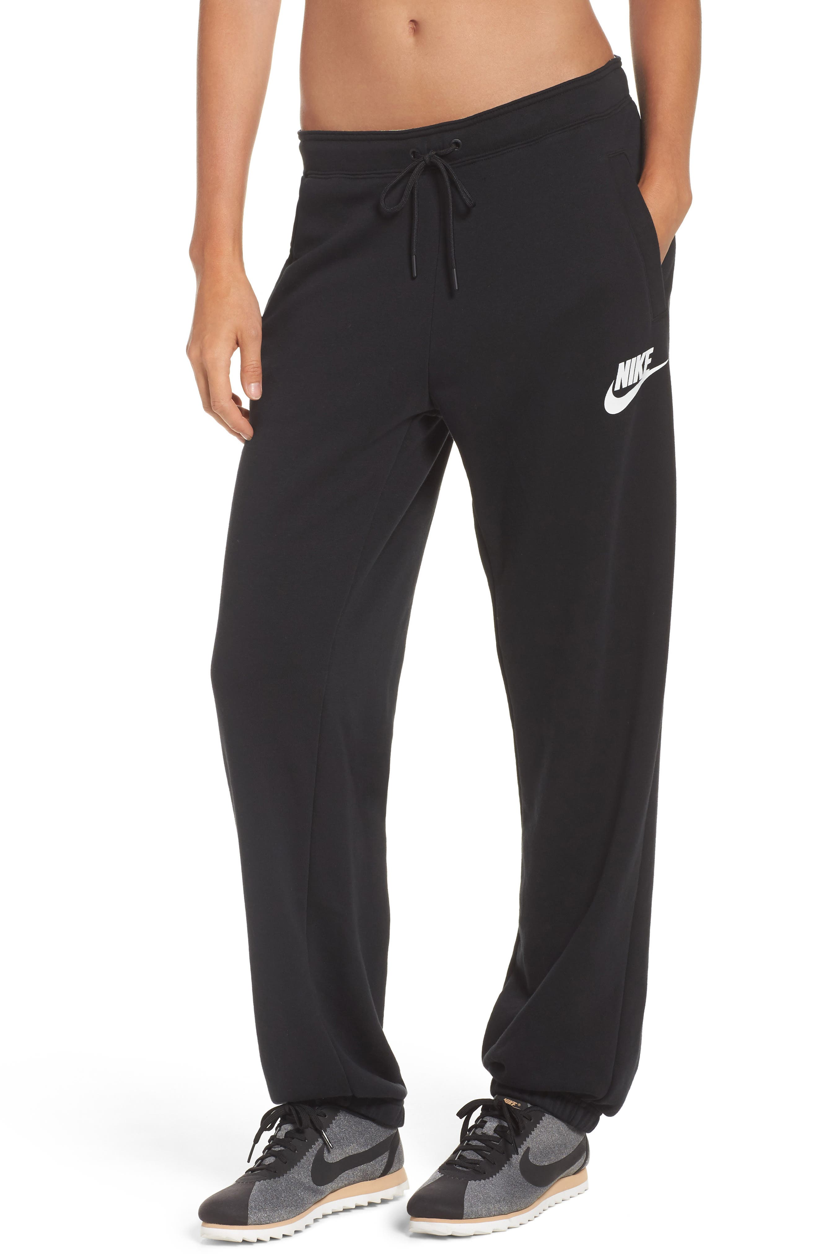 Rally Loose Fit Jogger Sweatpants,                             Main thumbnail 1, color,                             Black/ White