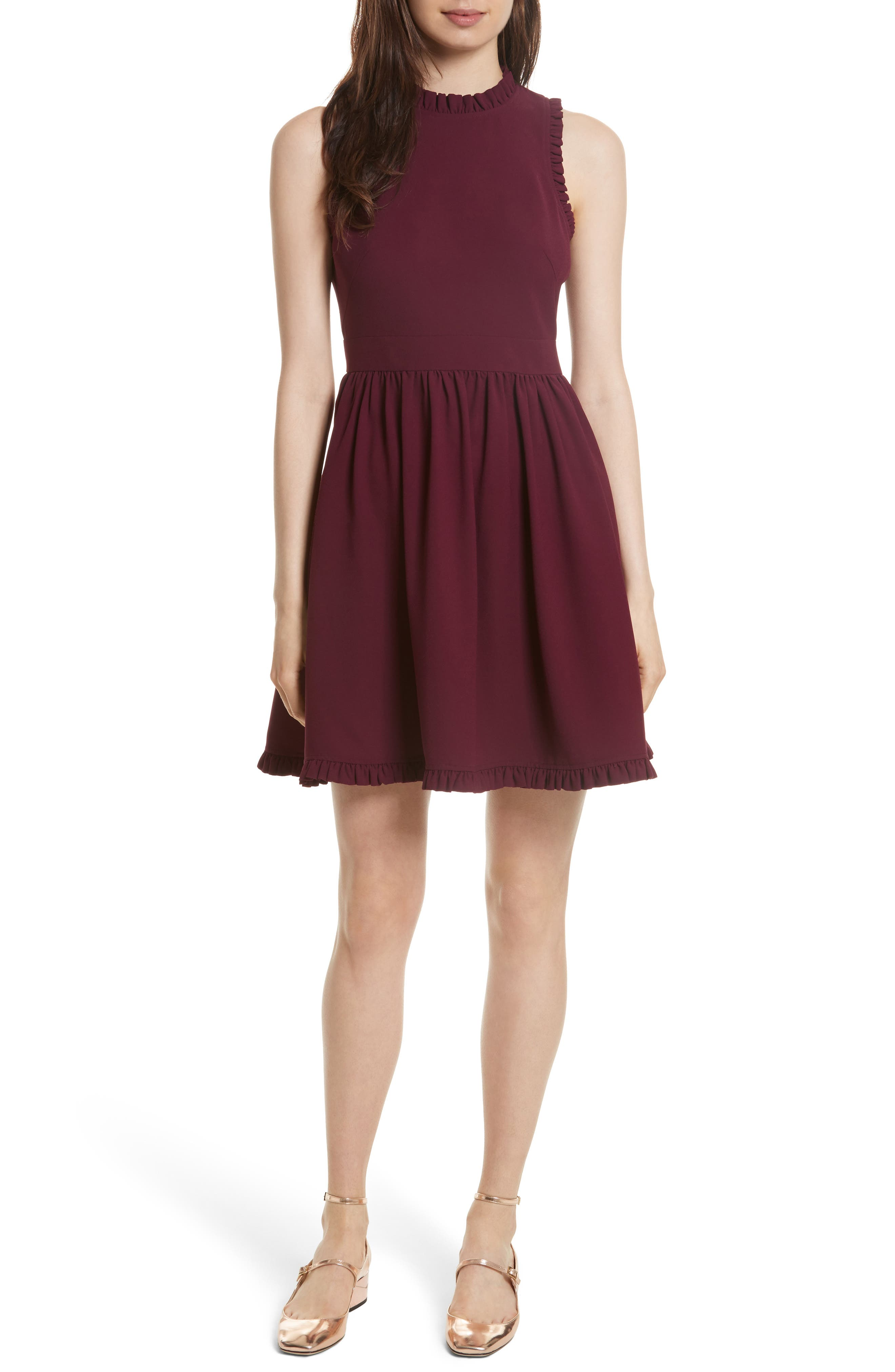 ruffle trim fit & flare dress,                             Main thumbnail 1, color,                             Burgundy