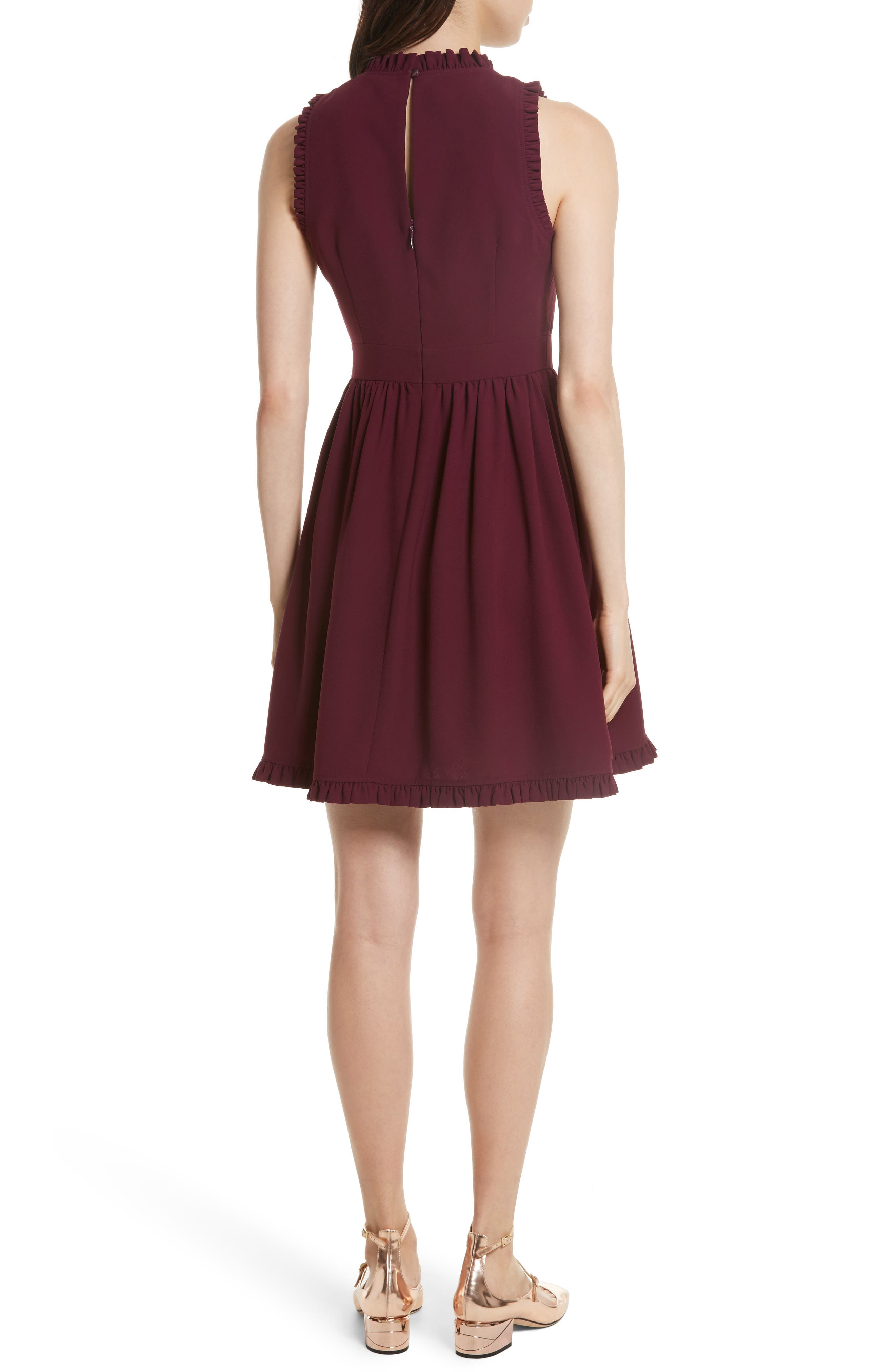 ruffle trim fit & flare dress,                             Alternate thumbnail 2, color,                             Burgundy