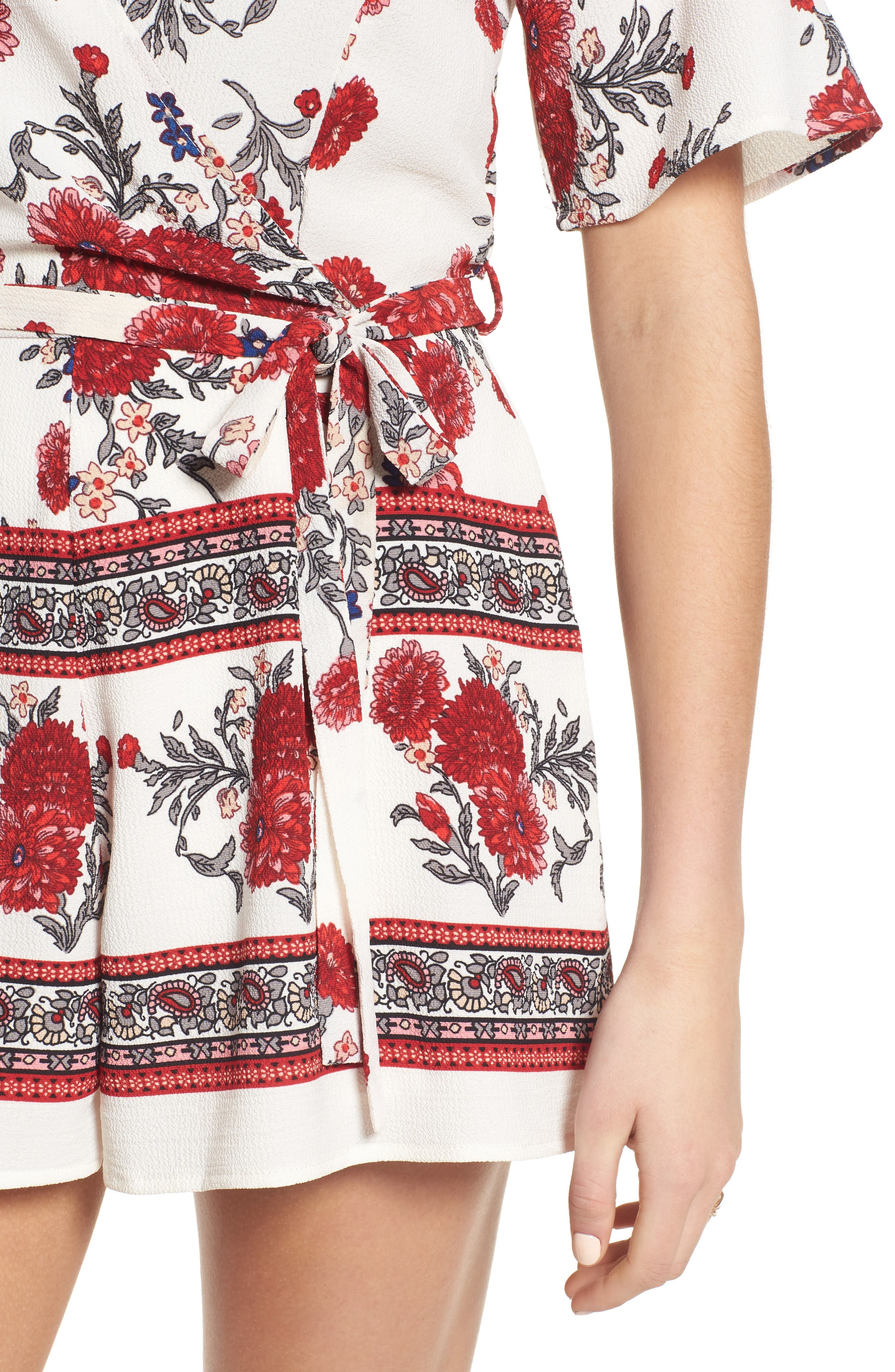 Alternate Image 4  - Row A Border Print Faux Wrap Romper