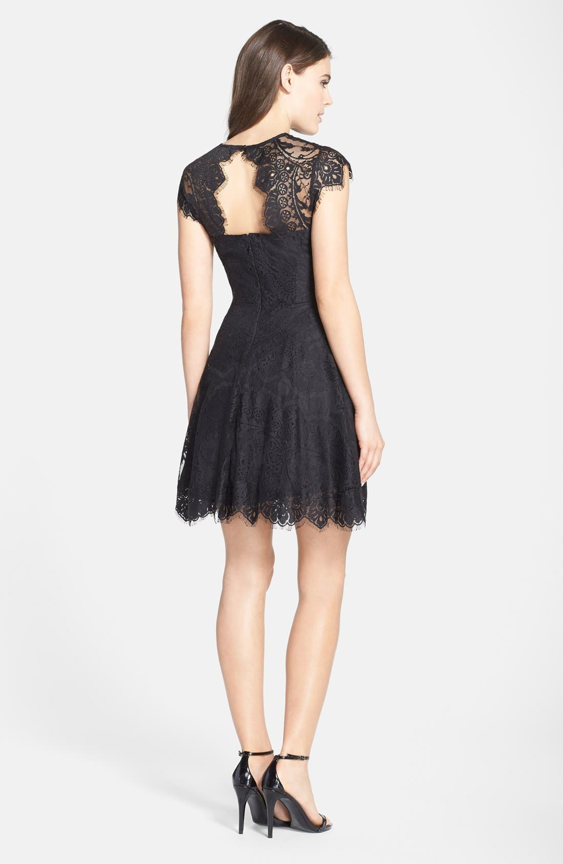 'Rhianna' Illusion Yoke Lace Fit & Flare Dress,                             Alternate thumbnail 2, color,                             Black