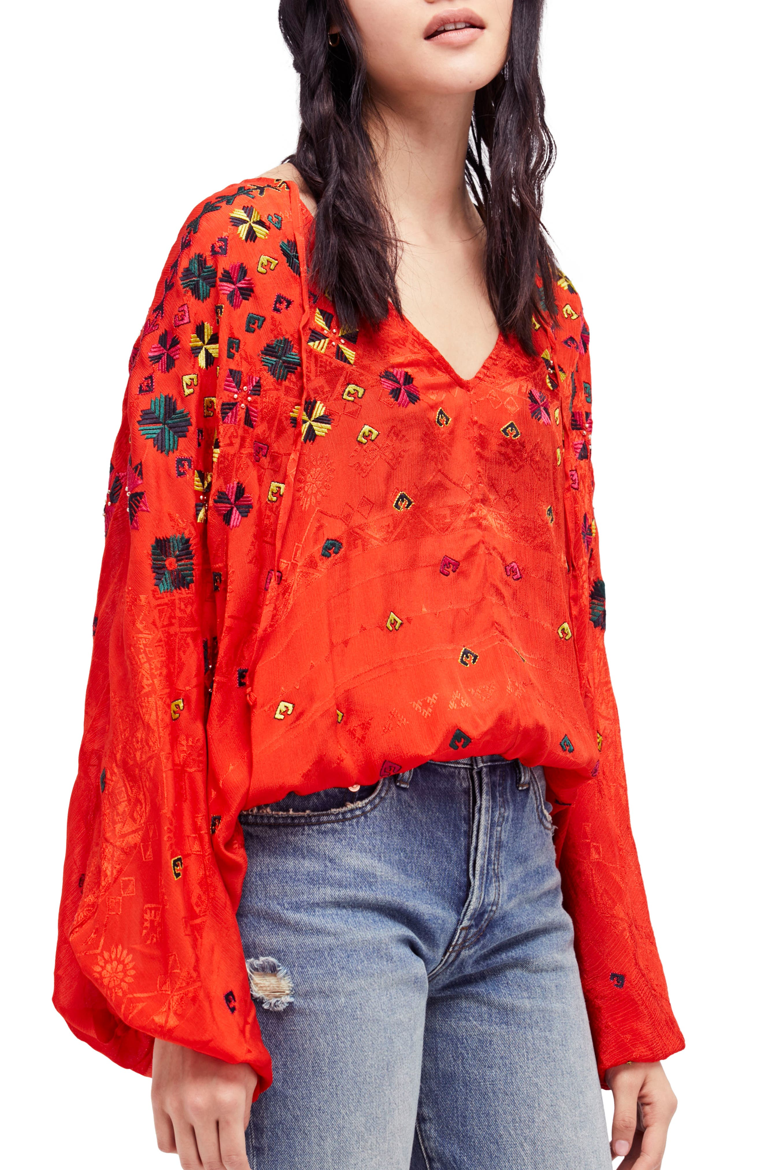 Music in Time Embroidered Top,                         Main,                         color, Red