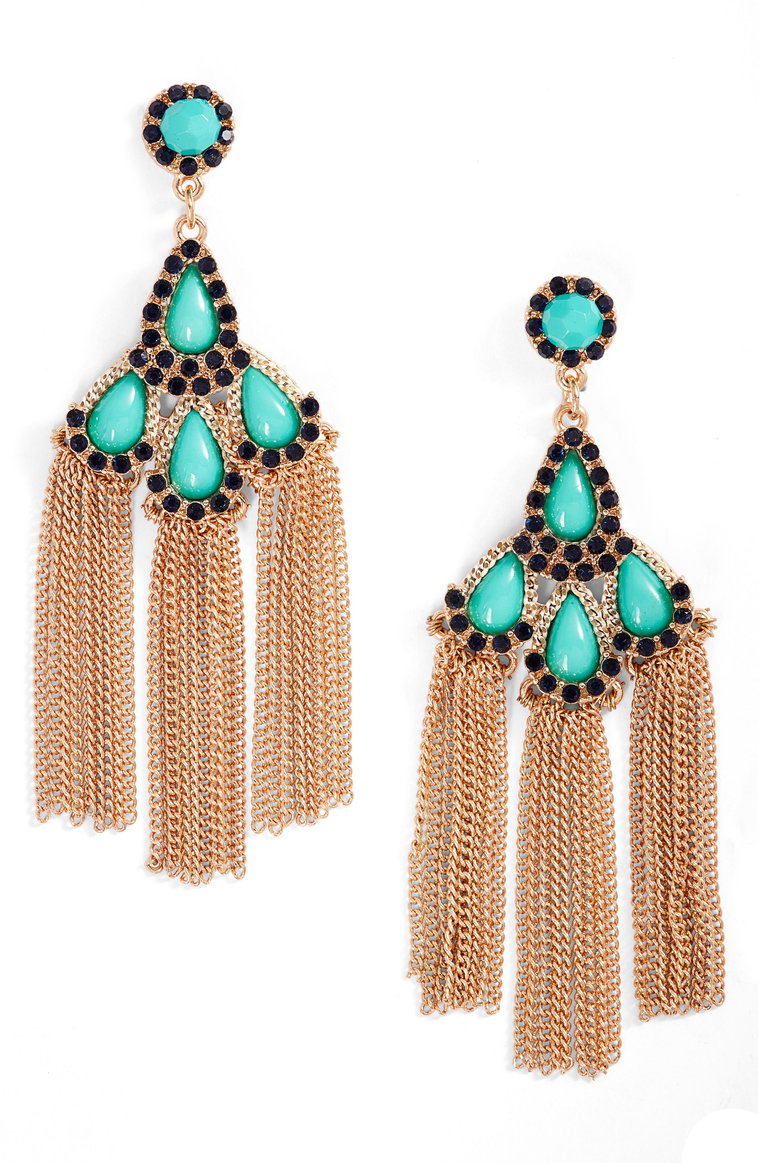 Chain Fringe Drop Earrings,                         Main,                         color, Turquoise