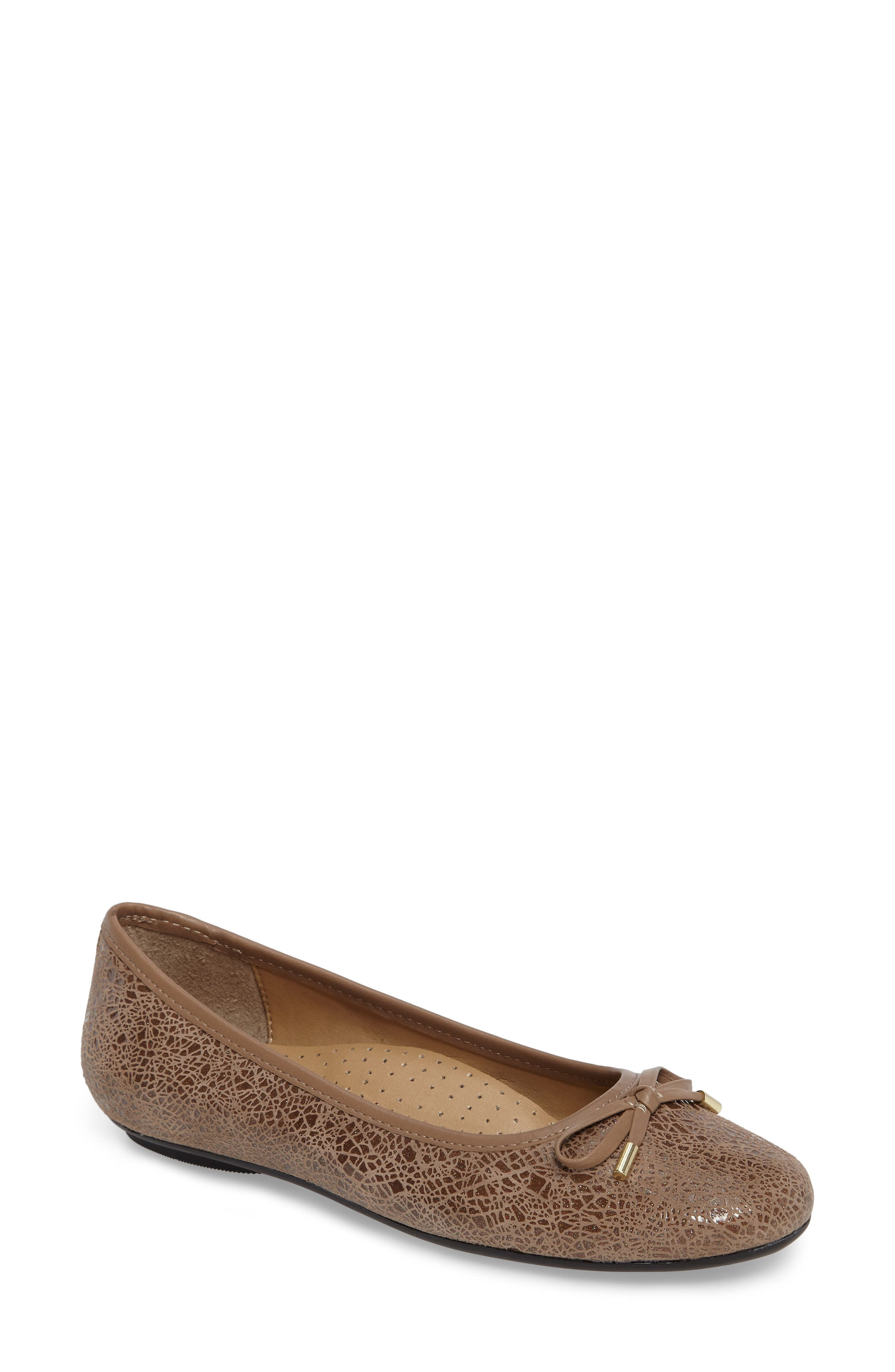 'Signy' Ballet Flat,                             Main thumbnail 1, color,                             Taupe Print Leather