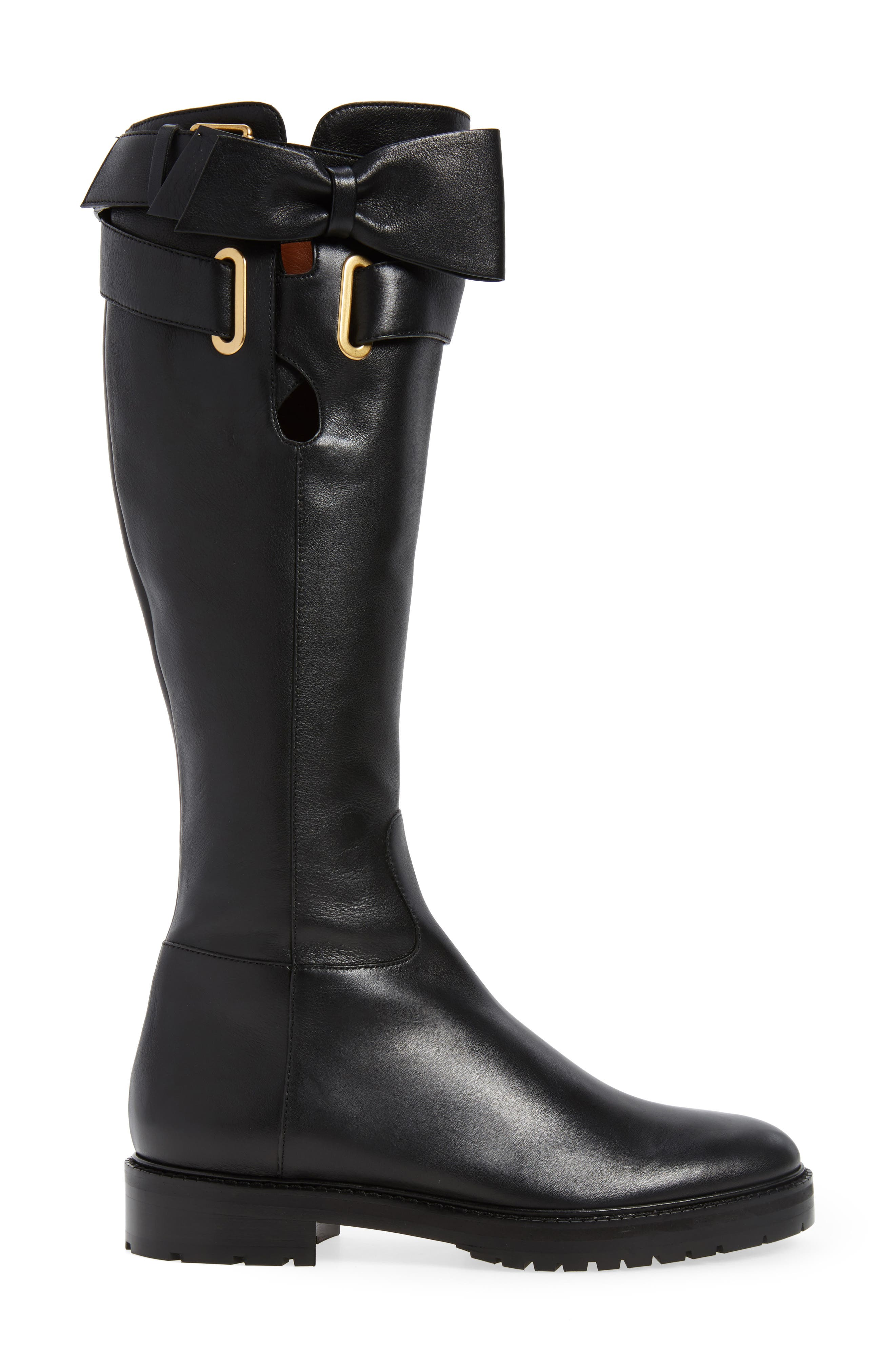 Bowrap Knee-High Boot,                             Alternate thumbnail 3, color,                             Black
