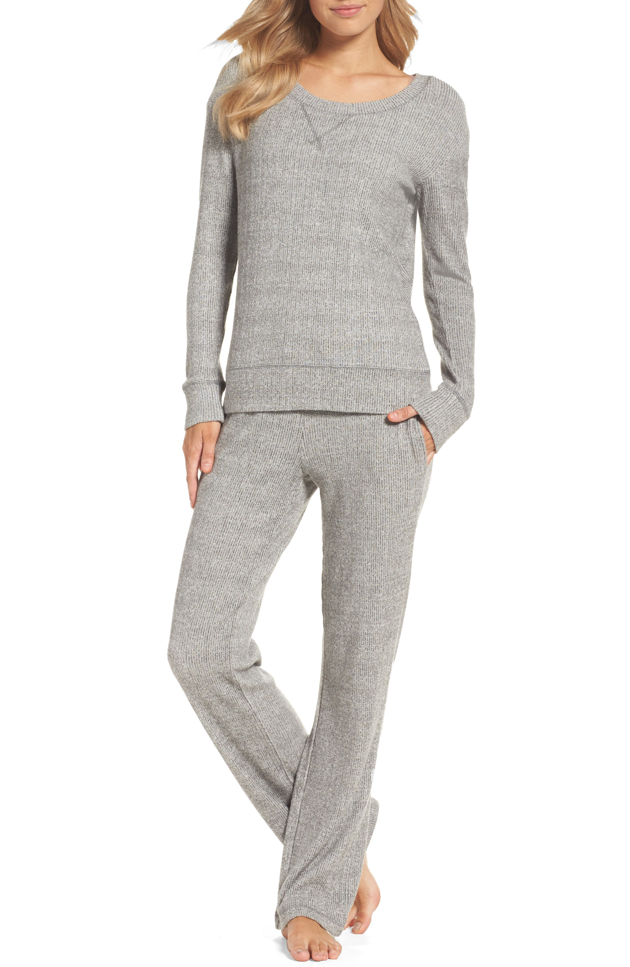 Knit Lounge Pants,                             Alternate thumbnail 5, color,                             Grey