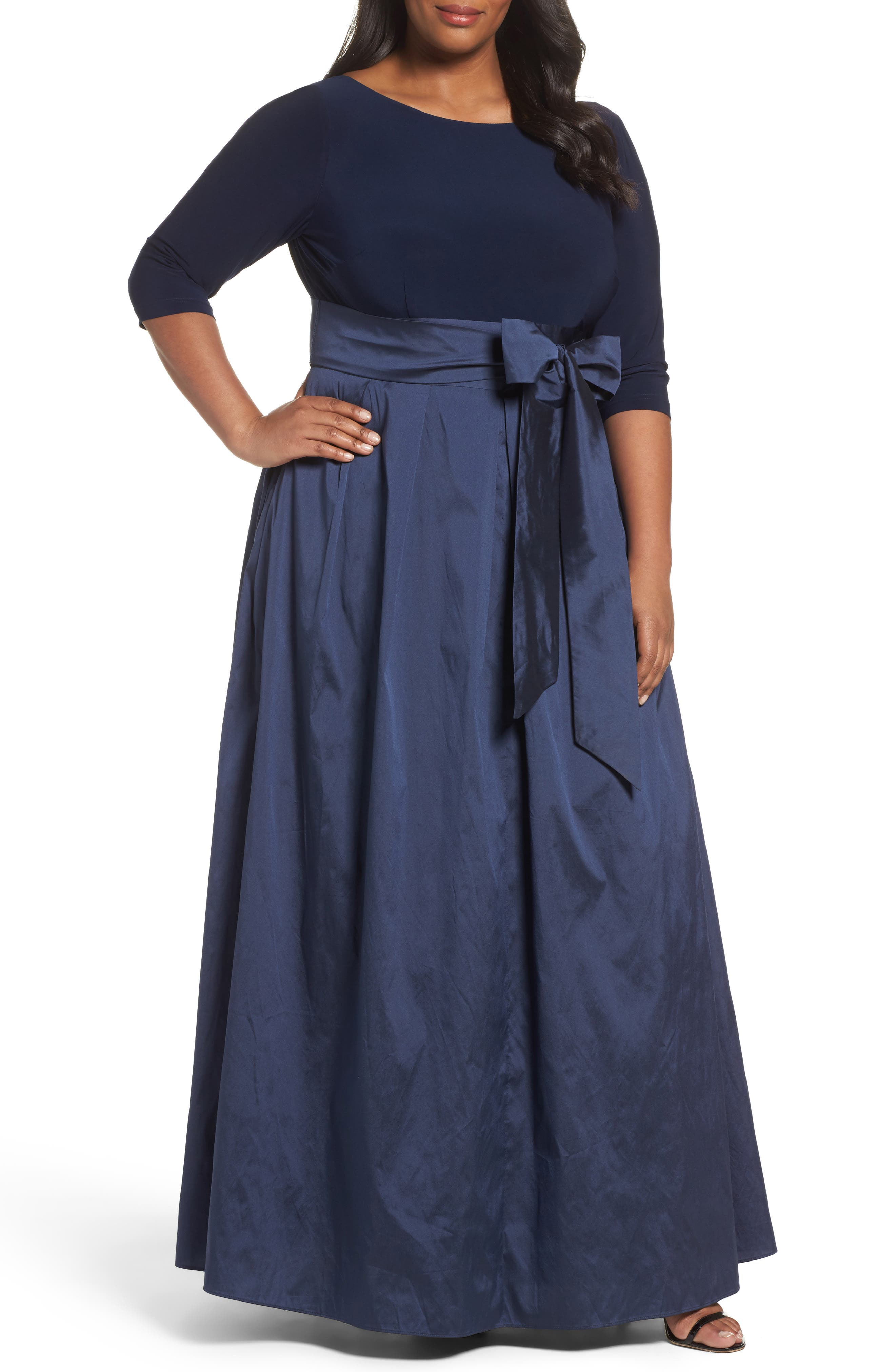 Adrianna Papell Mixed Media Gown (Plus Size)