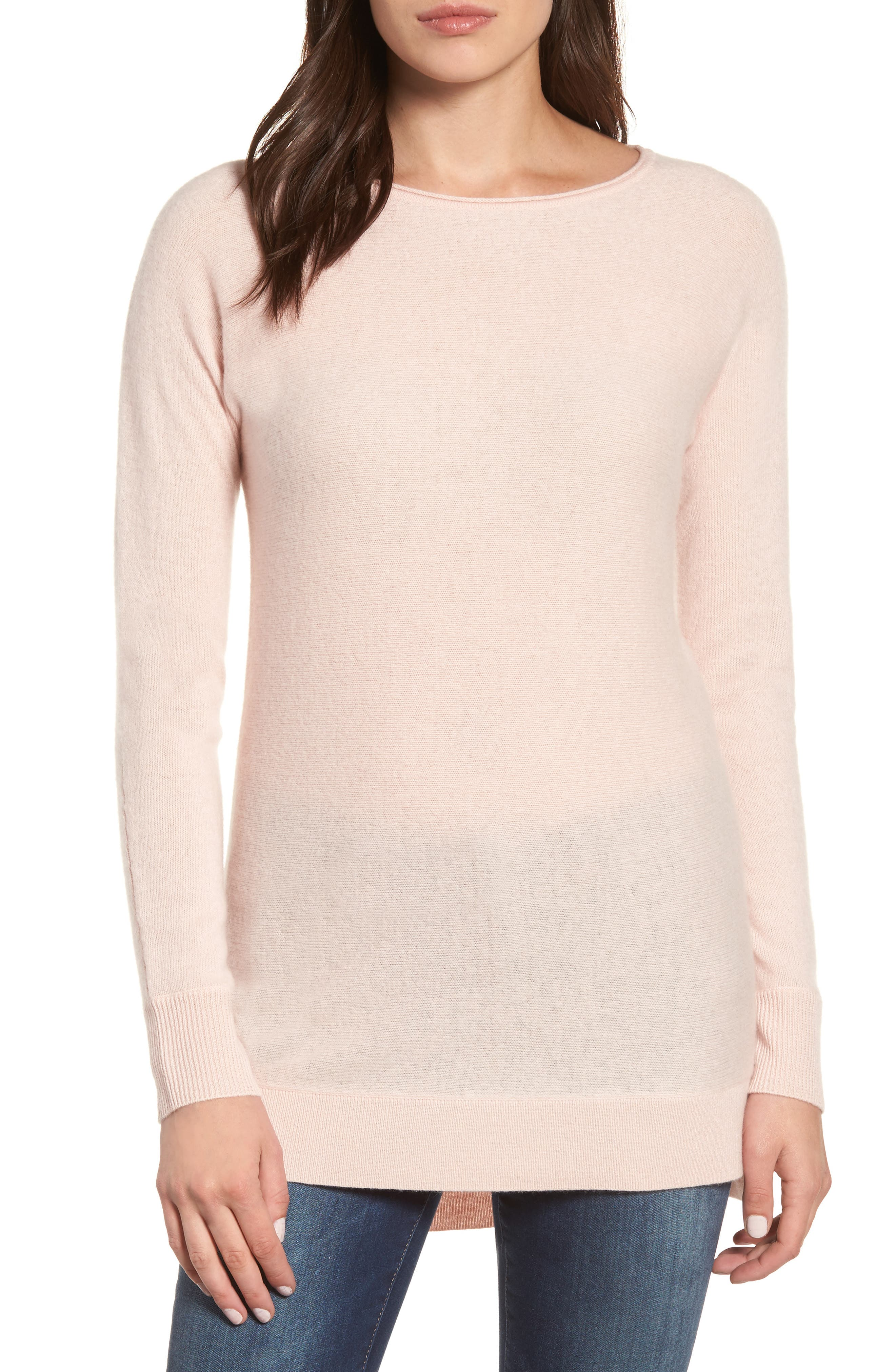 High/Low Wool & Cashmere Tunic Sweater,                             Main thumbnail 1, color,                             Pink Smoke