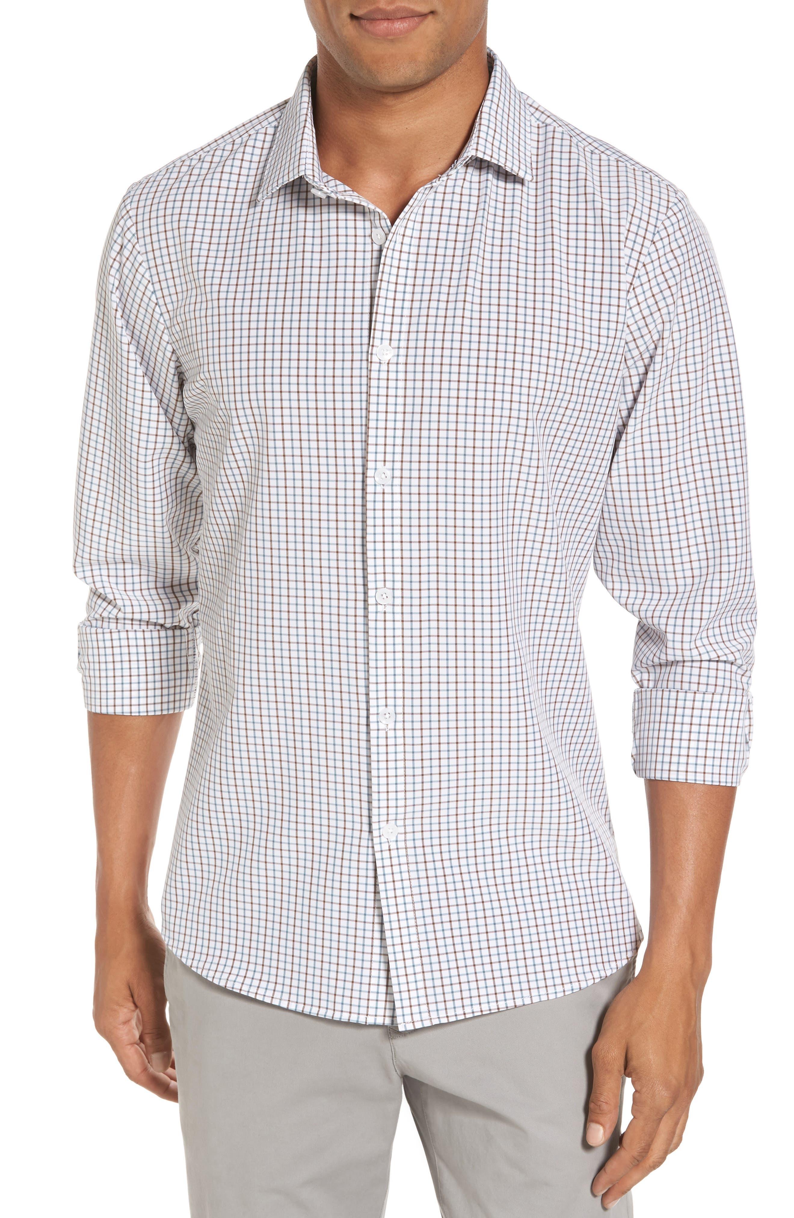 Nolan Slim Fit Tattersall Performance Sport Shirt,                         Main,                         color, White