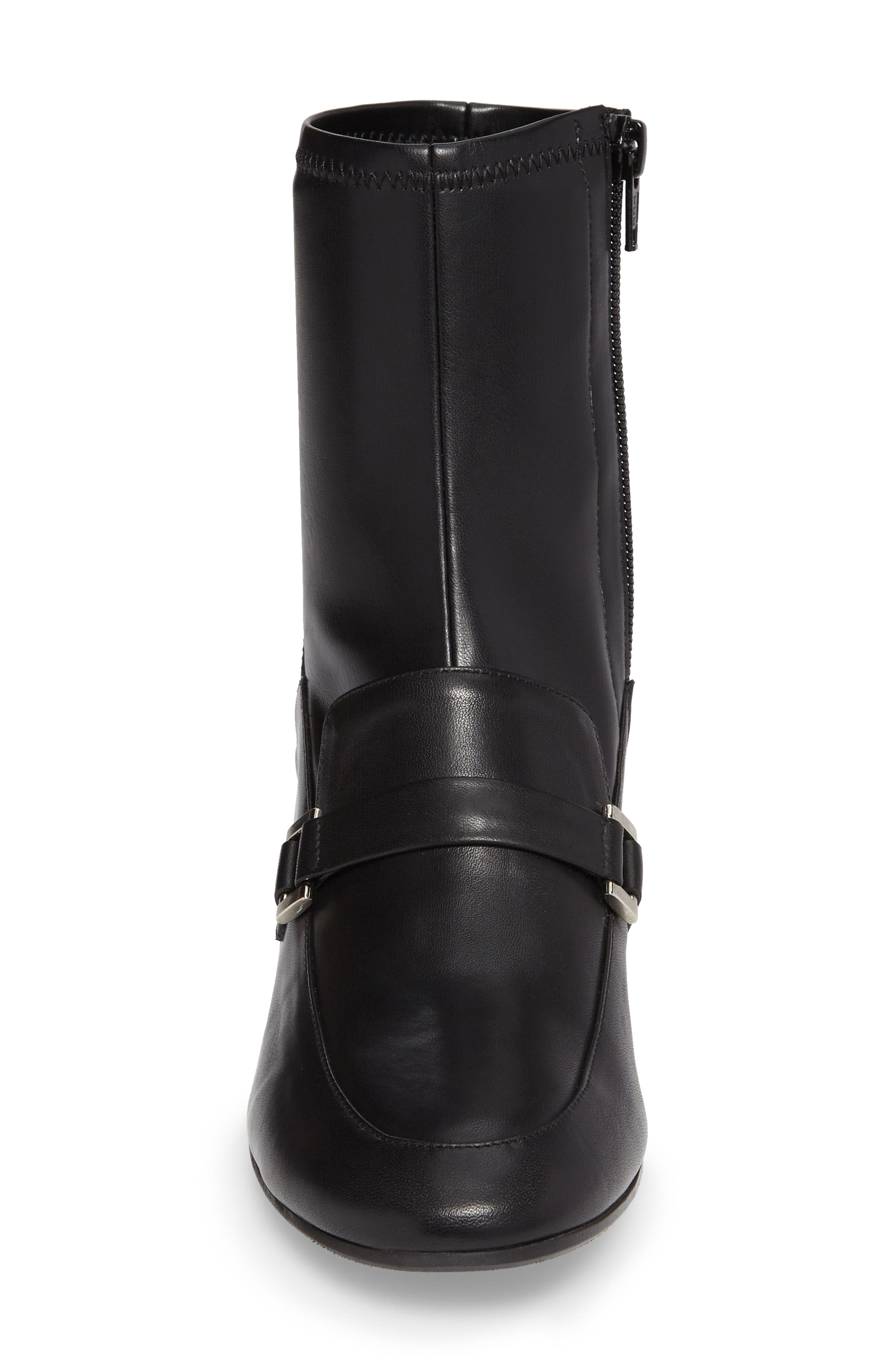 Mod Loafer Bootie,                             Alternate thumbnail 4, color,                             Black Stretch Leather