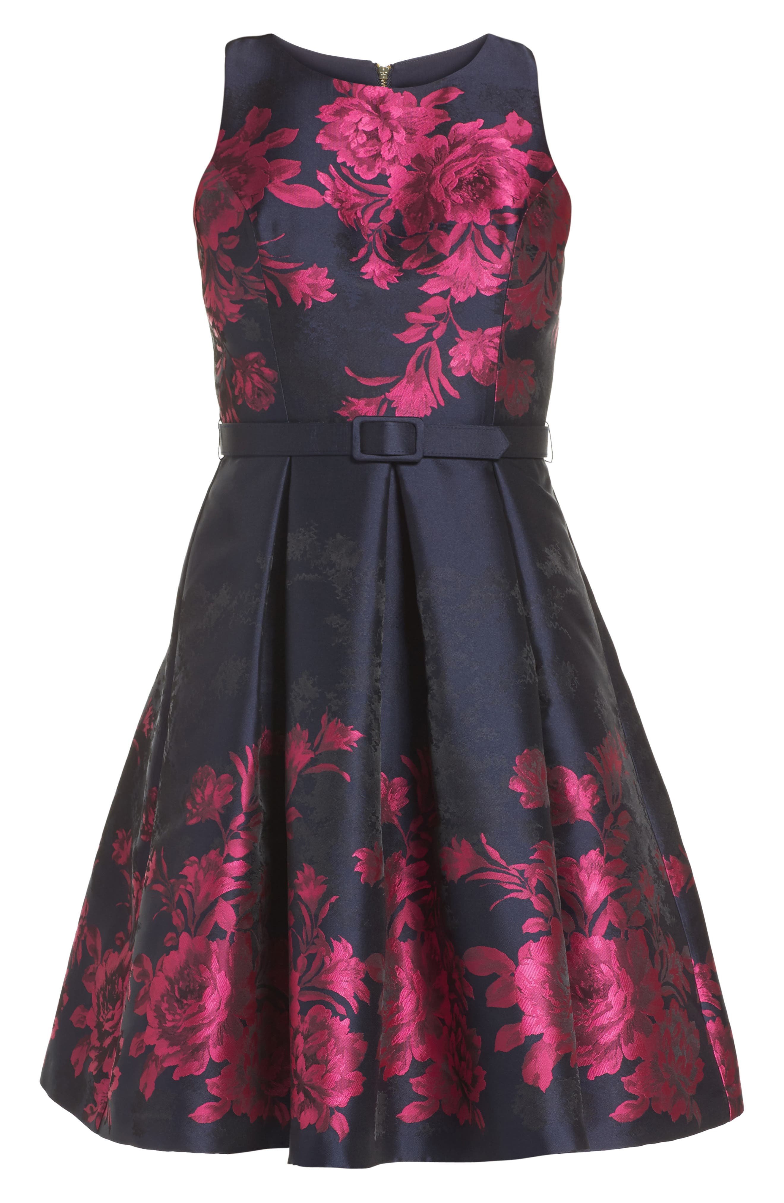 Floral Jacquard Fit & Flare Dress,                             Alternate thumbnail 6, color,                             Navy/ Pink