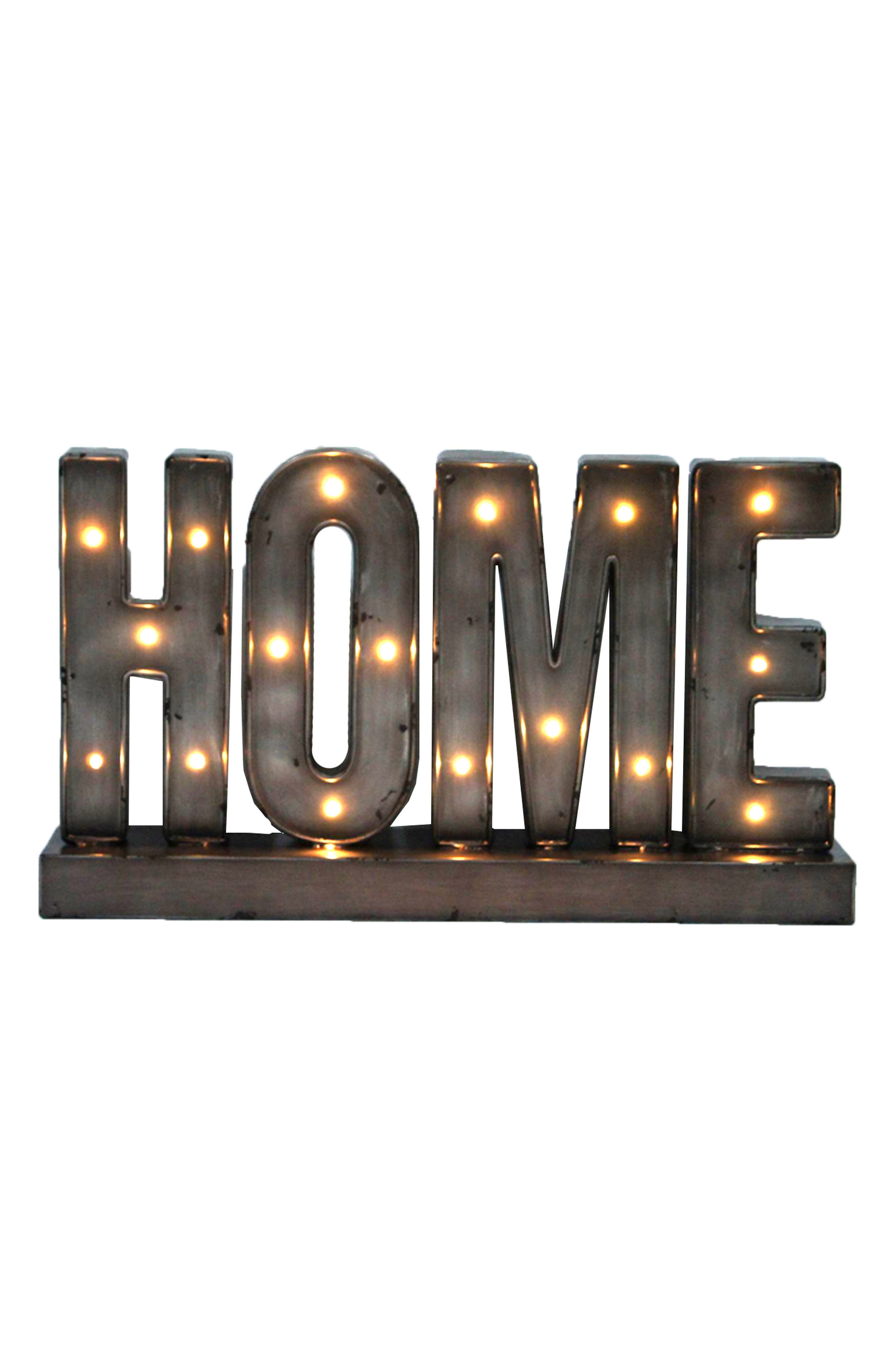 Home LED Metal Marquee Sign,                         Main,                         color, Bronze