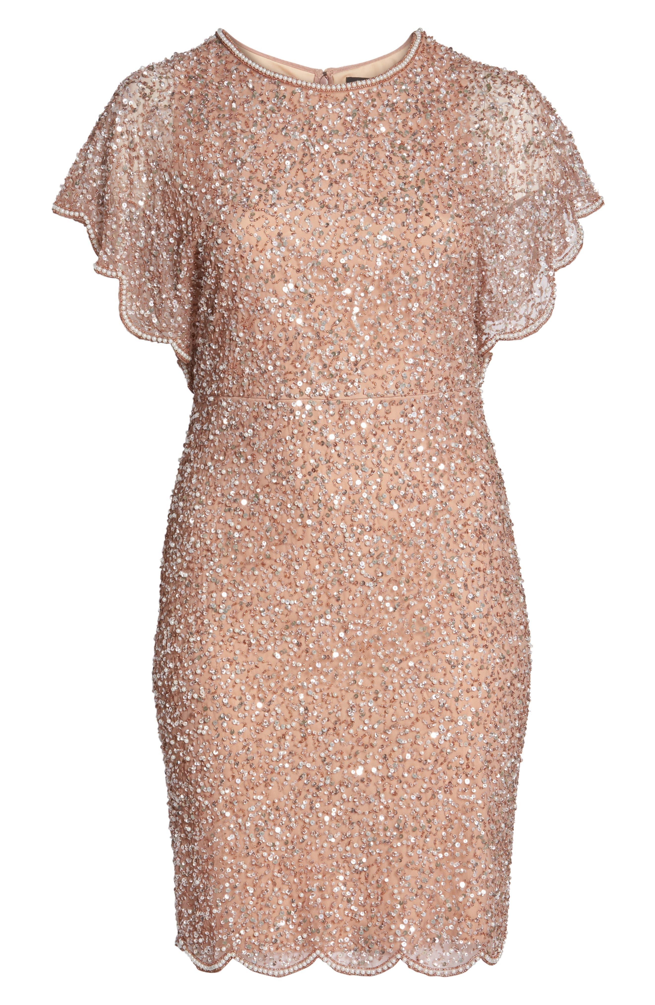 Alternate Image 6  - Adrianna Papell Beaded Flutter Sleeve Sheath Dress (Plus Size)