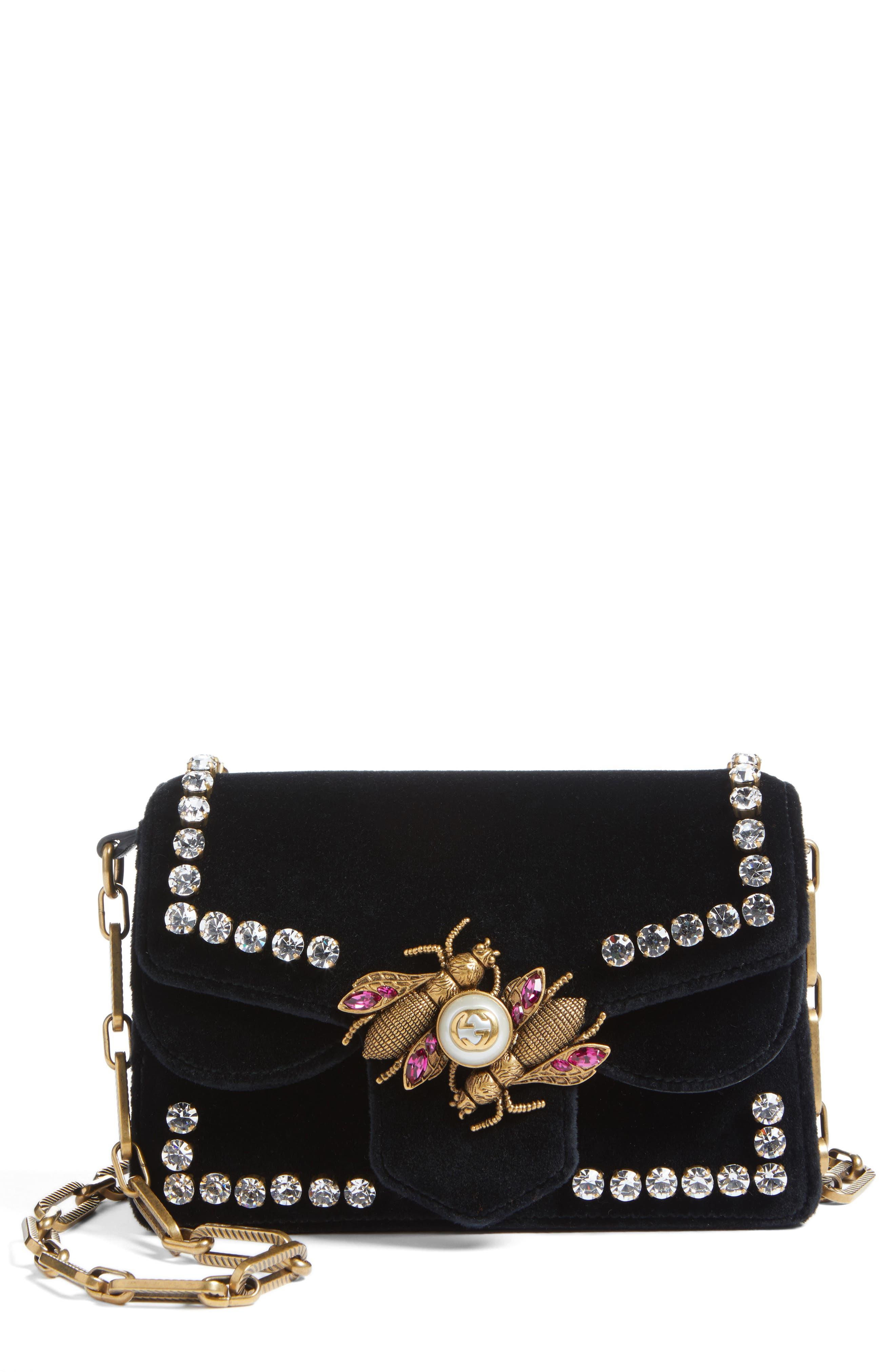 Main Image - Gucci Broadway Bee Velvet Shoulder Bag