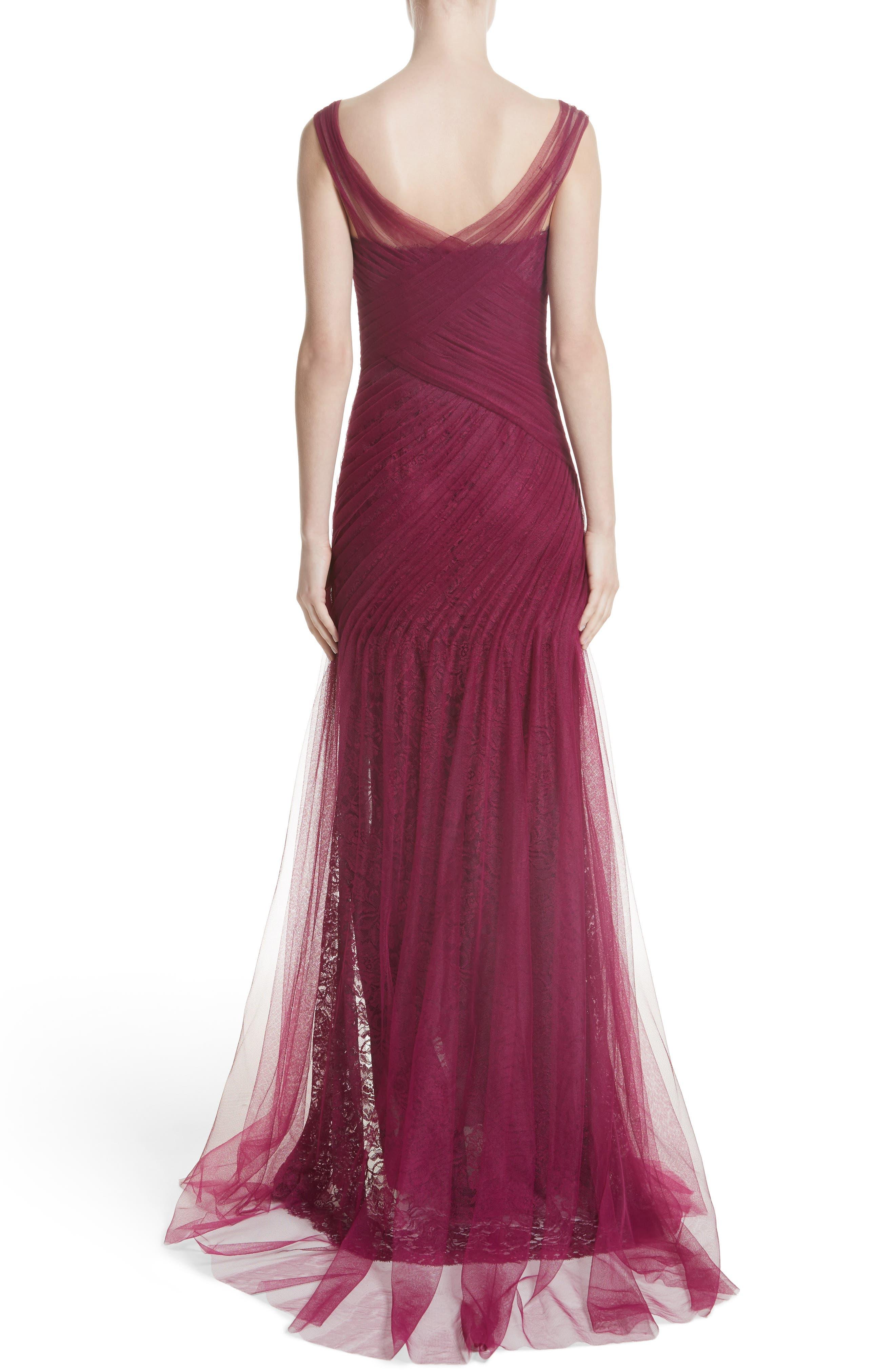 Alternate Image 2  - Monique Lhuillier Draped Tulle & Lace Gown