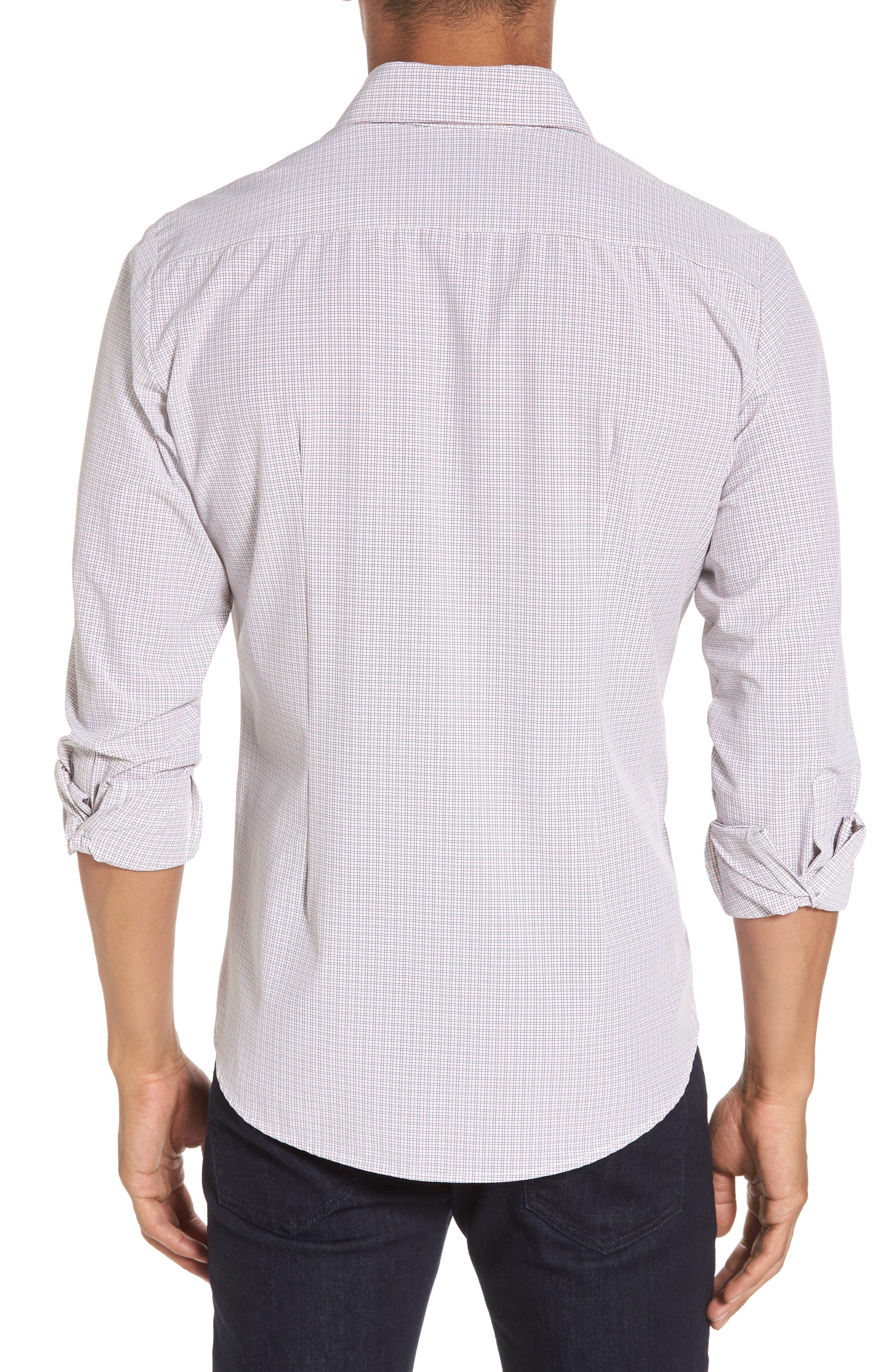 Reed Granite & Burgundy Check Sport Shirt,                             Alternate thumbnail 3, color,                             Red