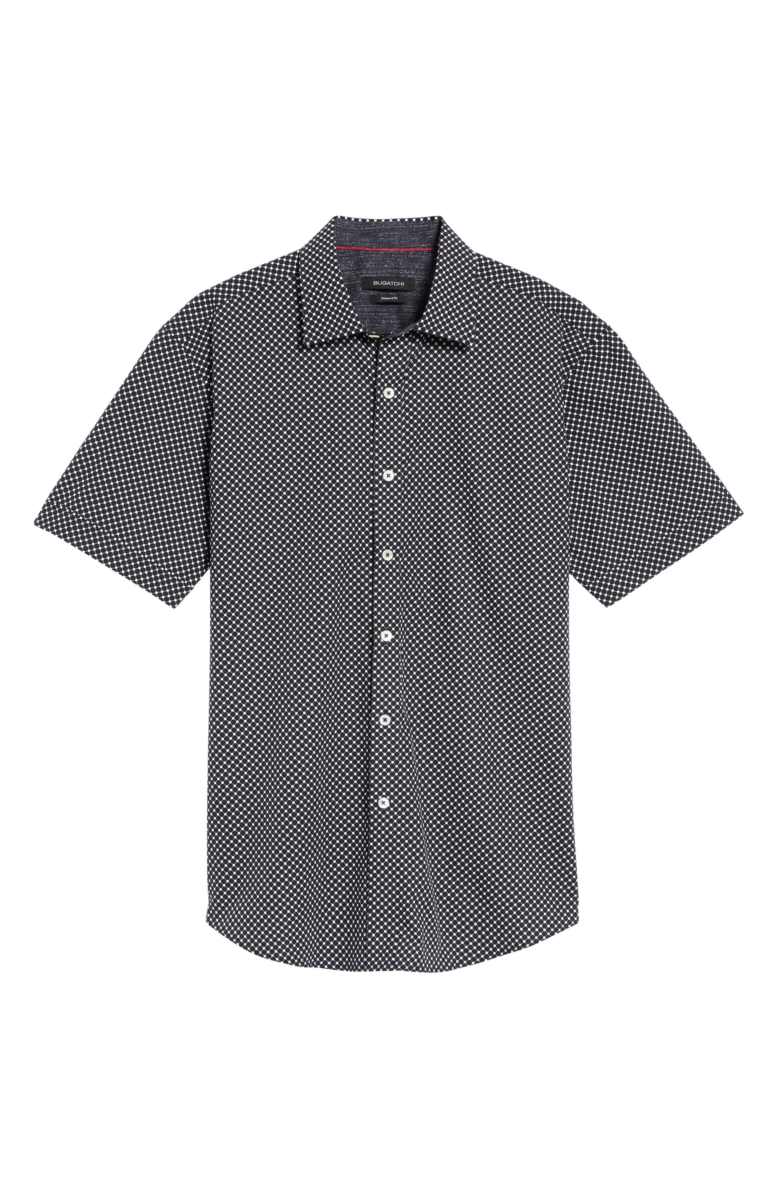 Shaped Fit Spot Grid Sport Shirt,                             Alternate thumbnail 6, color,                             Black