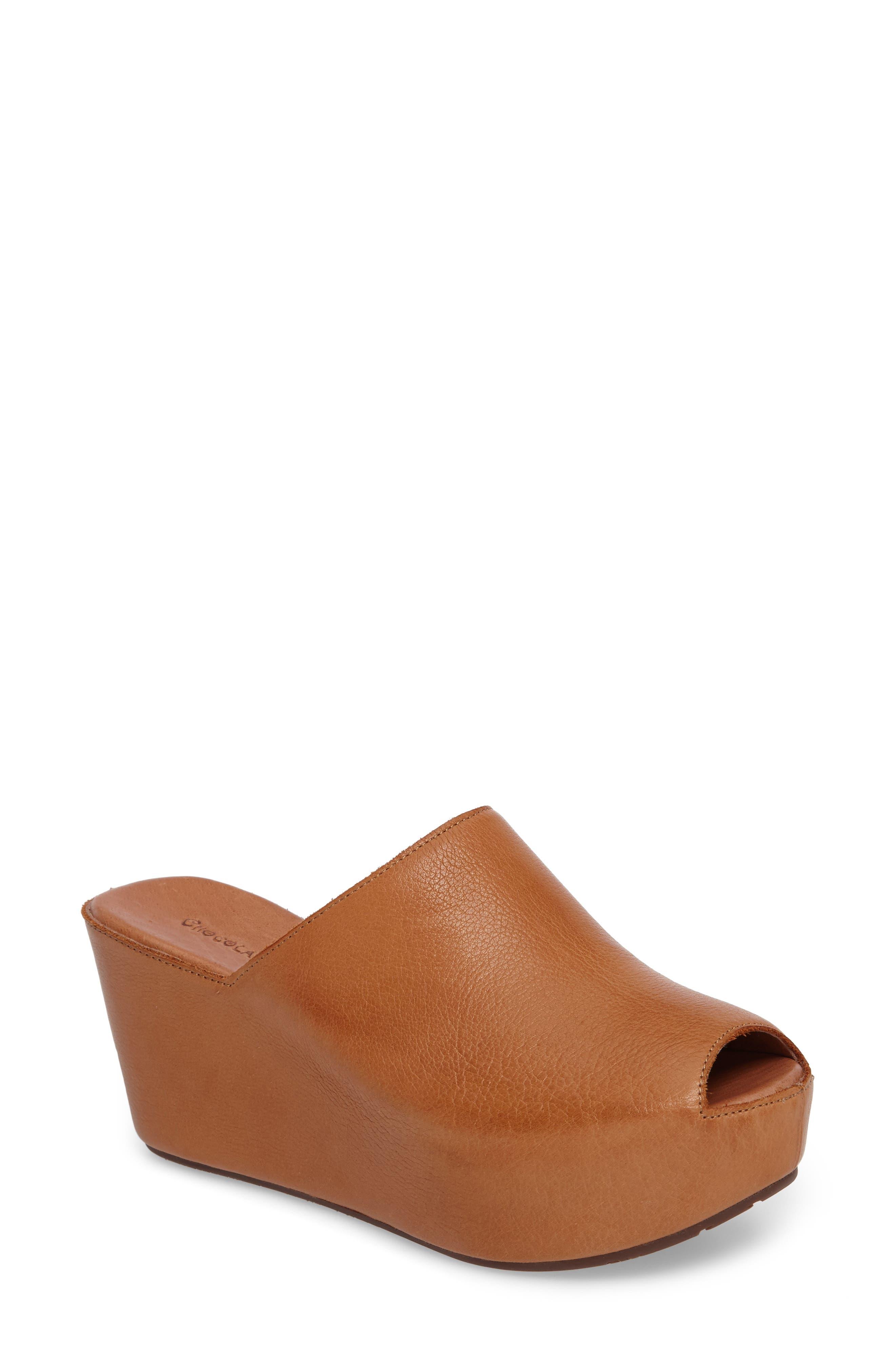 Willa Platform Wedge Mule,                         Main,                         color, Camel Leather