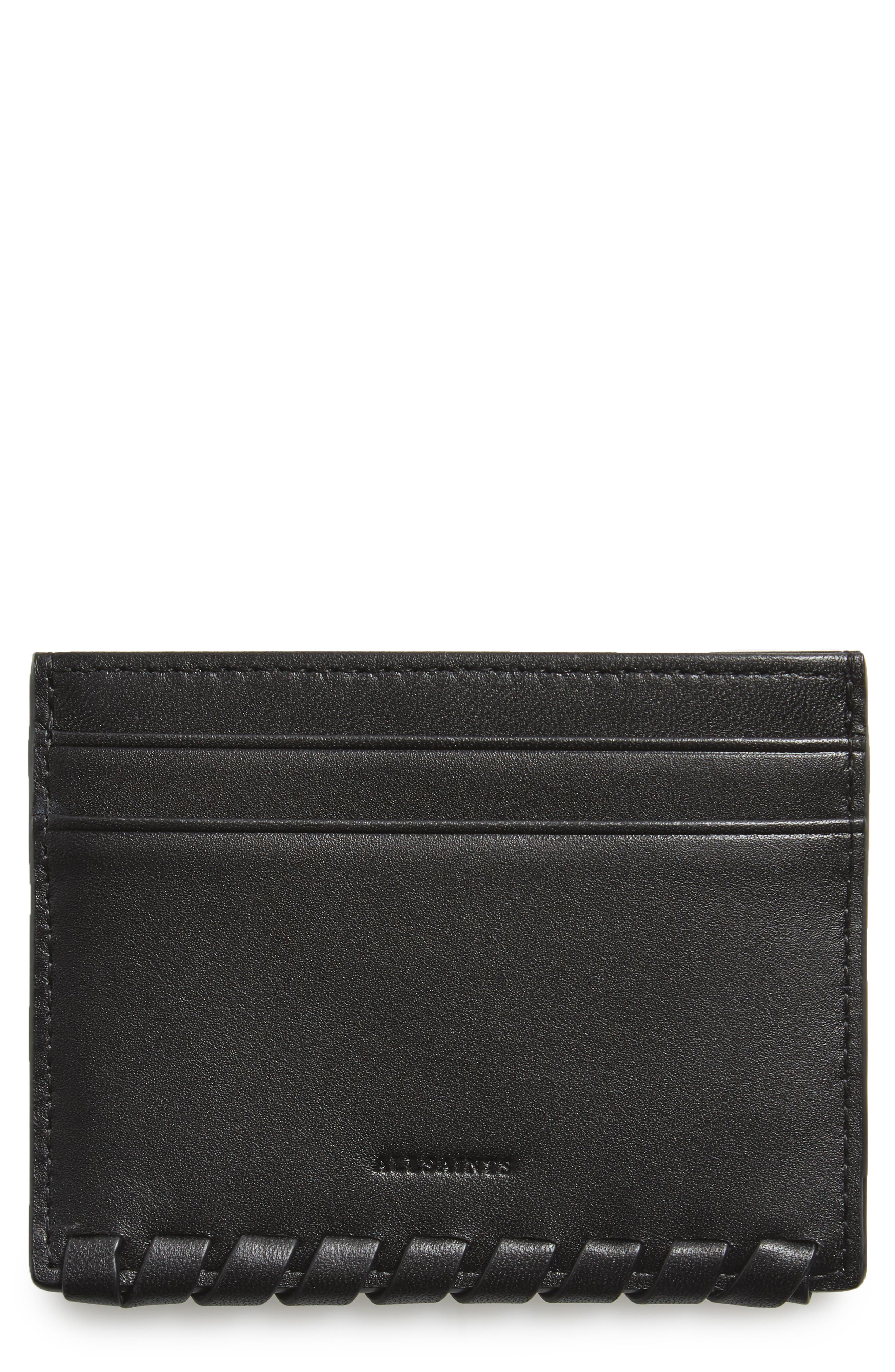 Kita Pebbled Leather Card Case,                         Main,                         color, Black