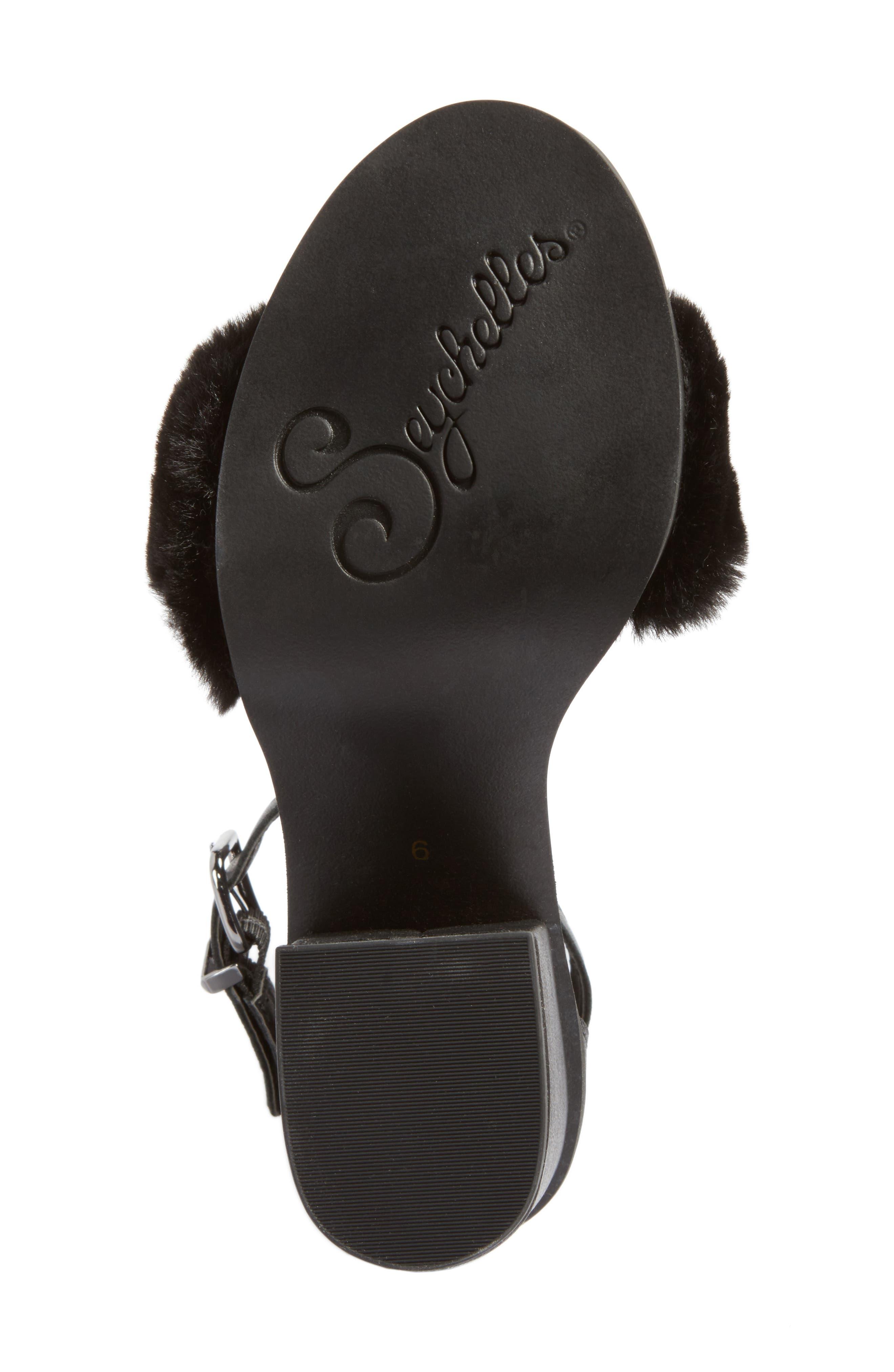 Faux Fur Ankle Strap Sandal,                             Alternate thumbnail 6, color,                             Black Faux Fur Leather