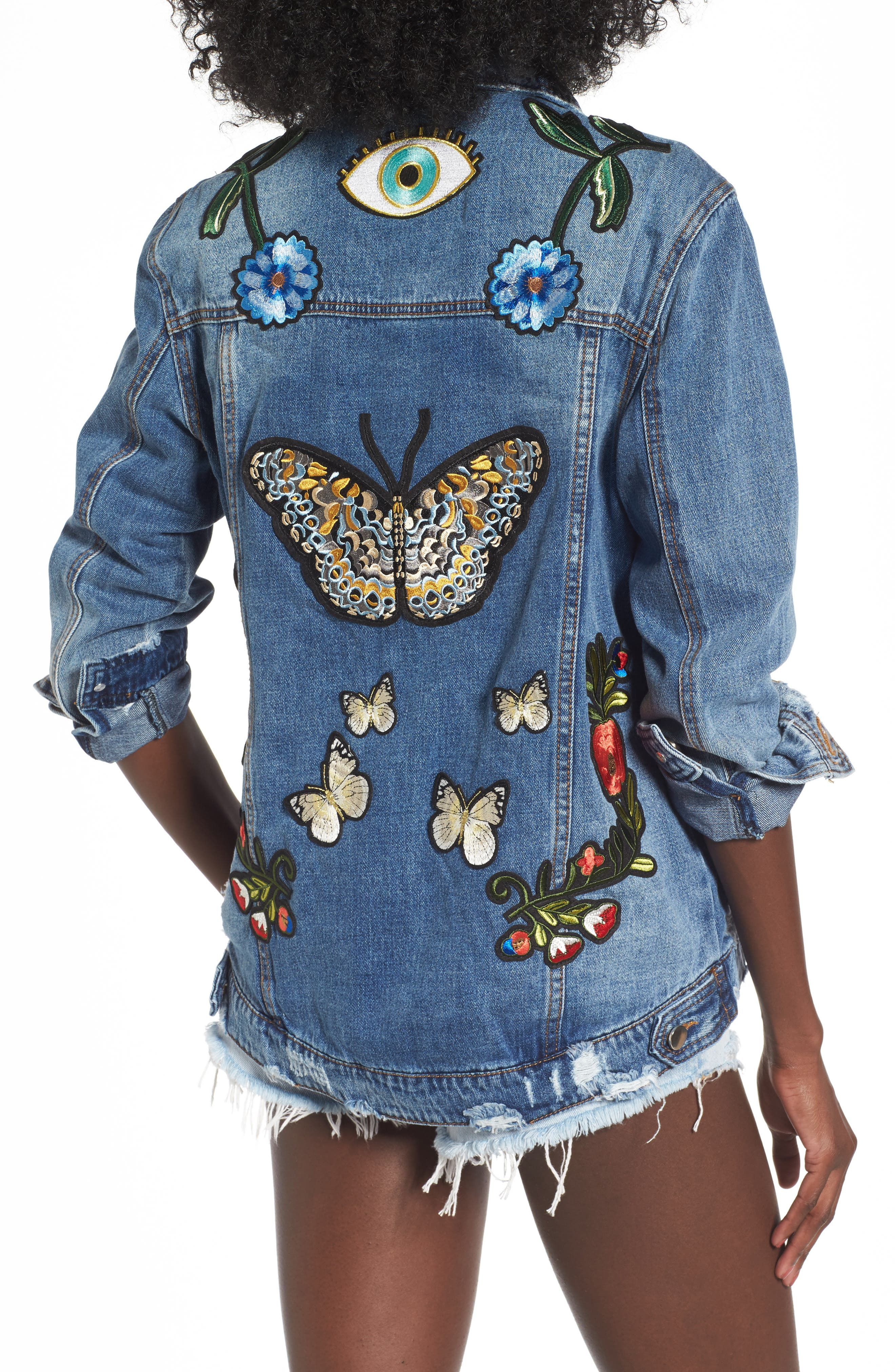 Alternate Image 1 Selected - AFRM Eloise Embroidered Denim Jacket