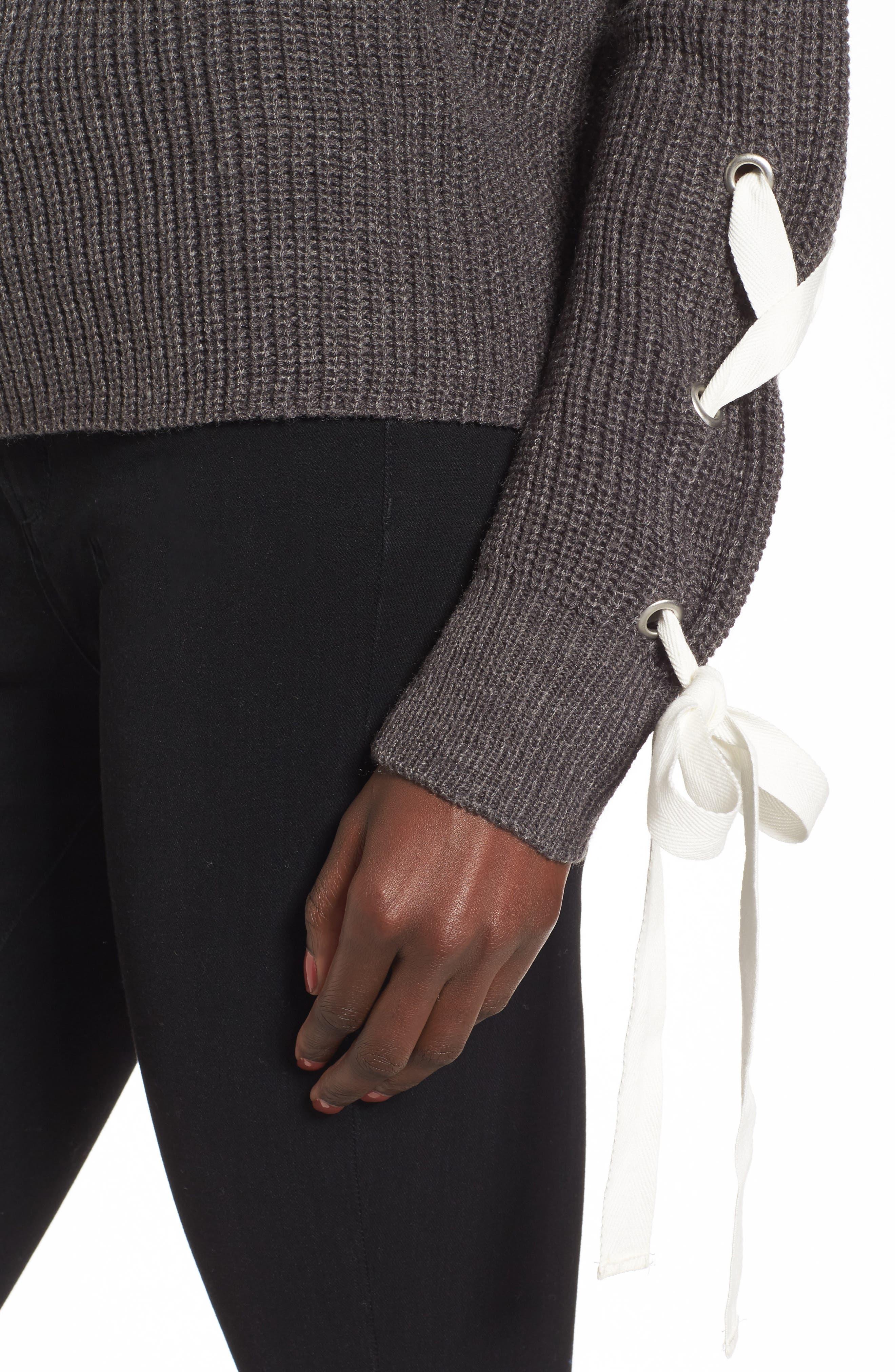 Alternate Image 4  - Madison & Berkeley Laced Sleeve Sweater