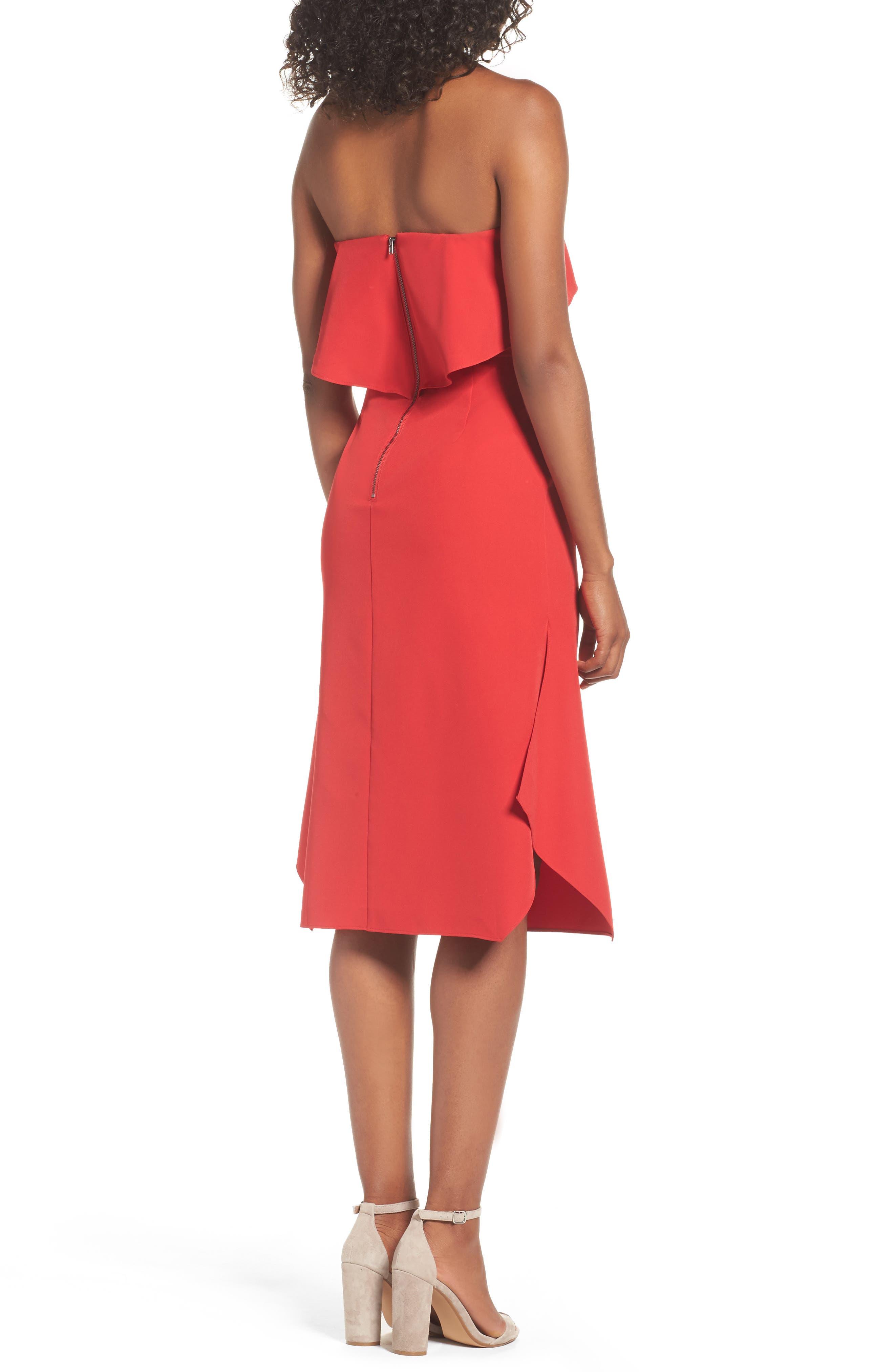 Aurora Rose Crepe Popover Dress,                             Alternate thumbnail 2, color,                             Red Barberry