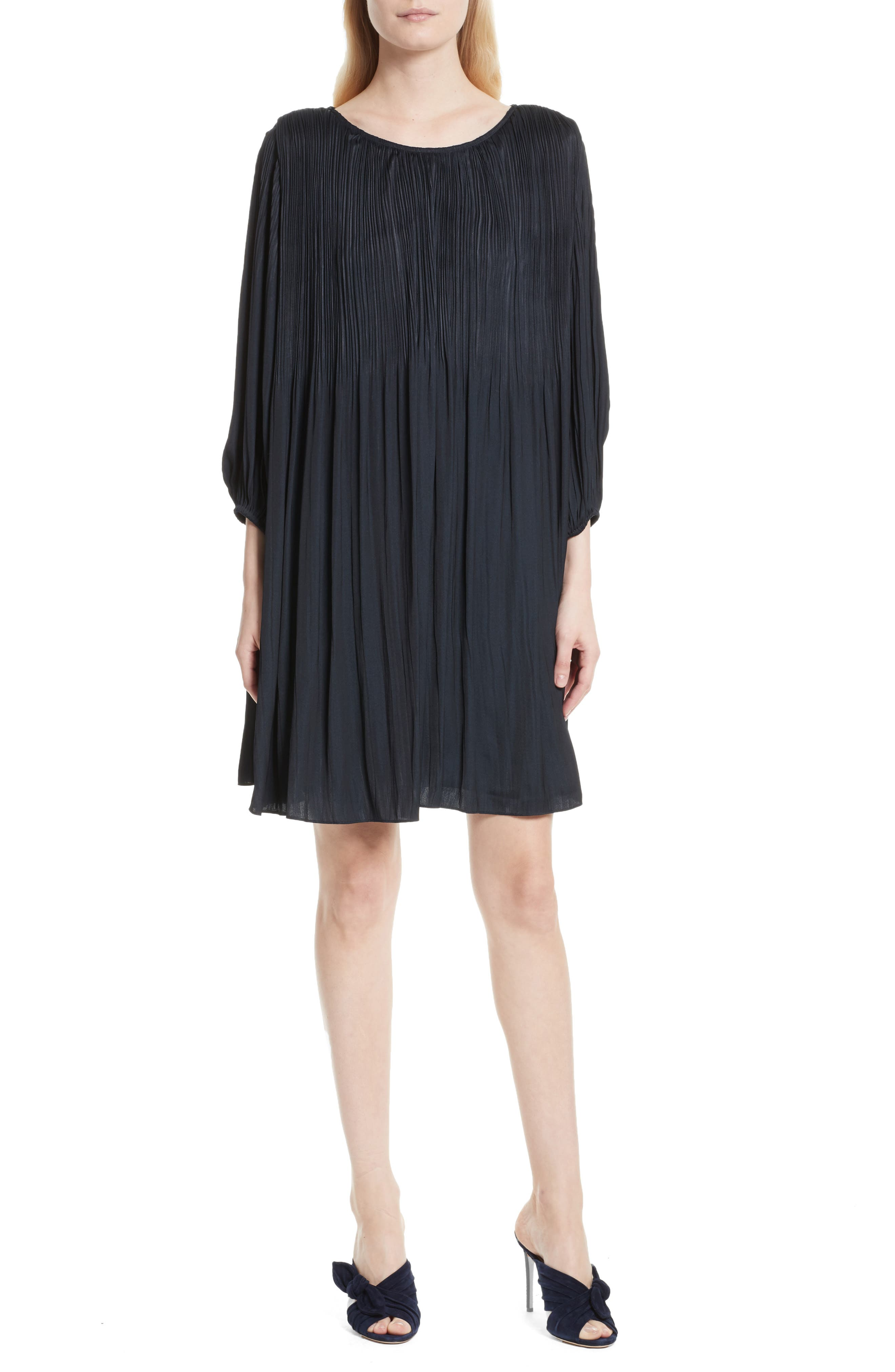 Florrie Pleated Shift Dress,                         Main,                         color, Navy