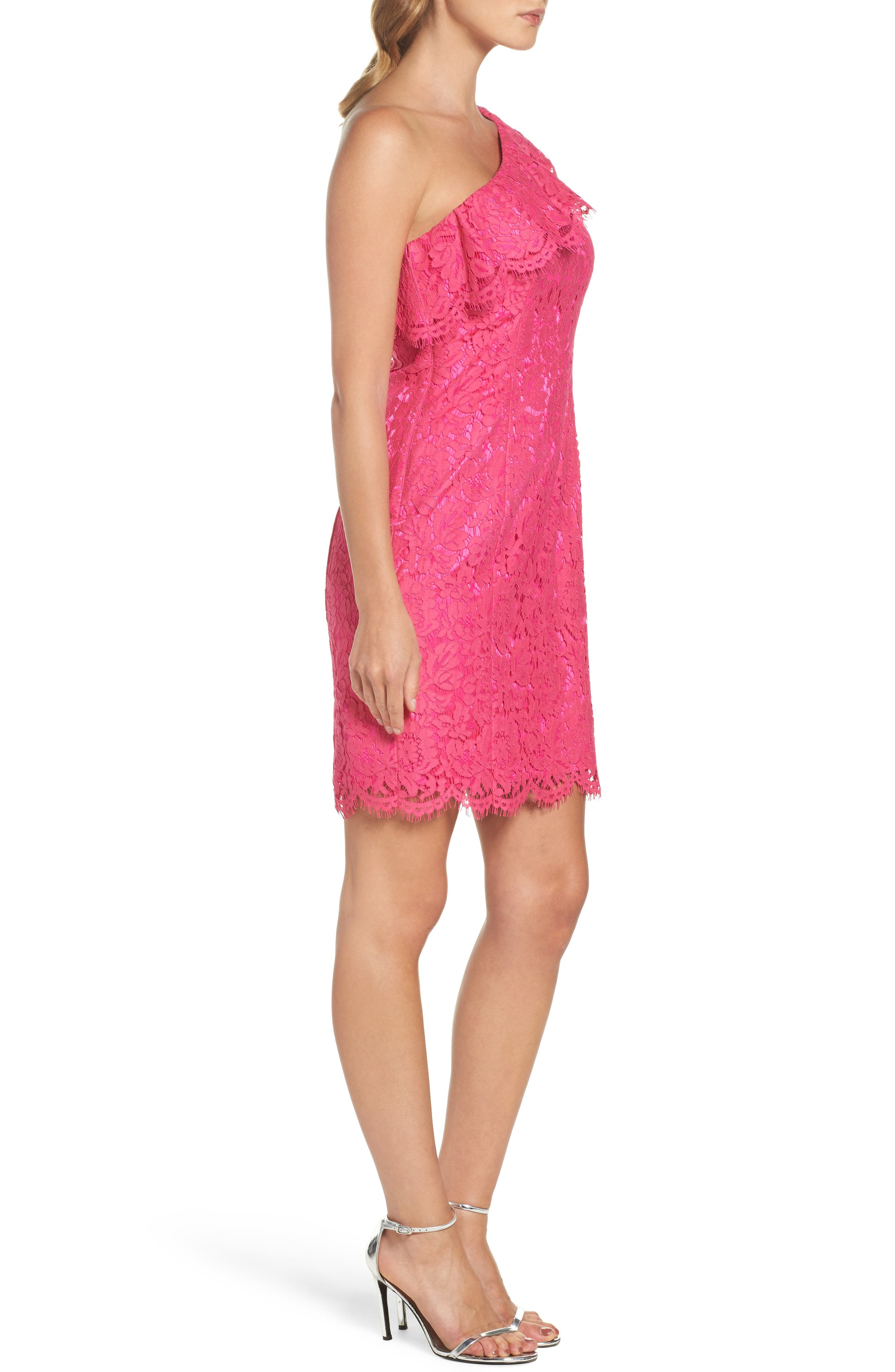 Ruffle Lace One-Shoulder Sheath Dress,                             Alternate thumbnail 3, color,                             Pink