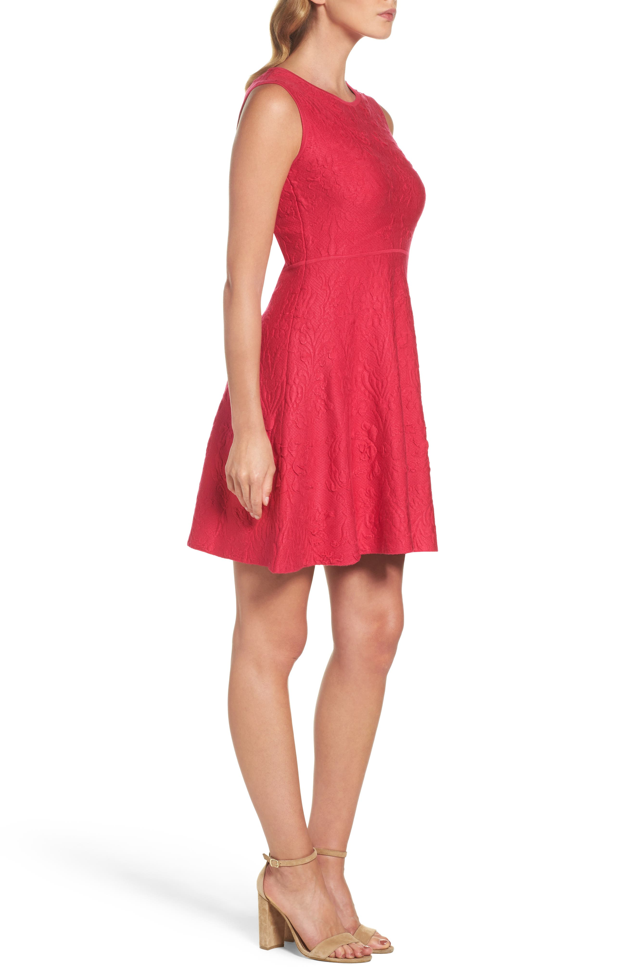 Texture Knit Fit & Flare Dress,                             Alternate thumbnail 3, color,                             Pink