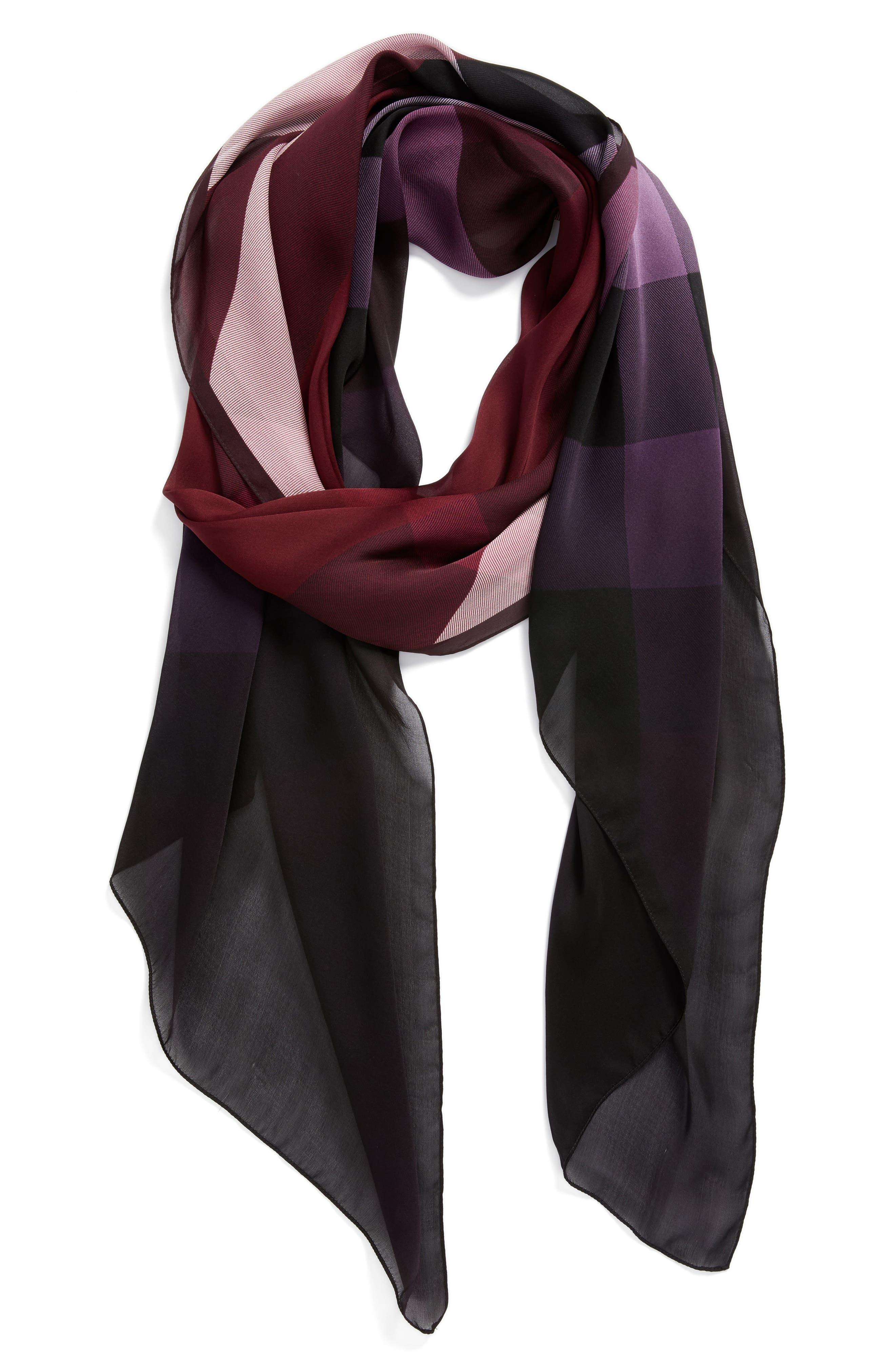 Ombré Check Silk Scarf,                         Main,                         color, Plum