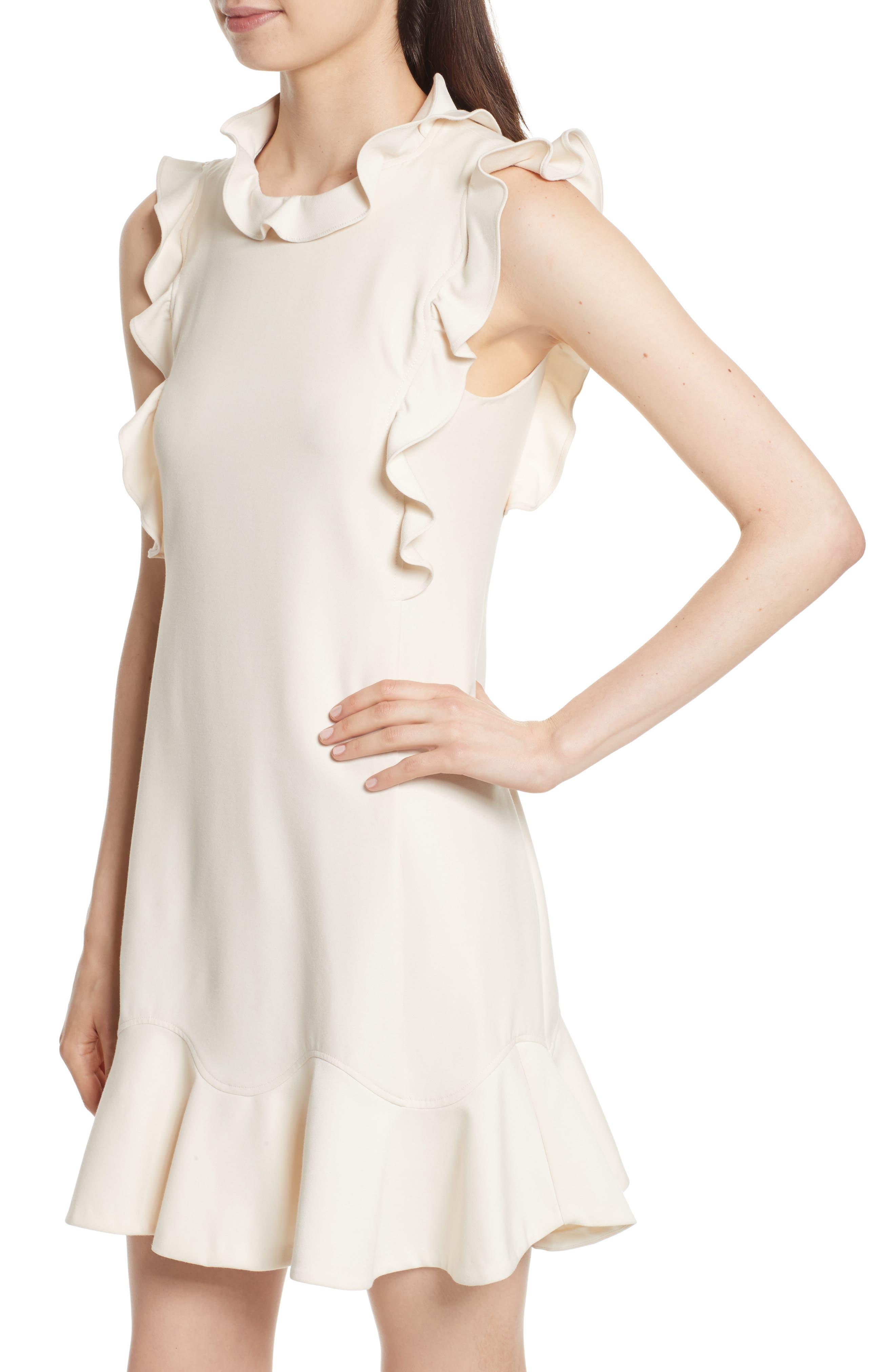 Ruffle Trim Suit Dress,                             Alternate thumbnail 4, color,                             Cream Combo