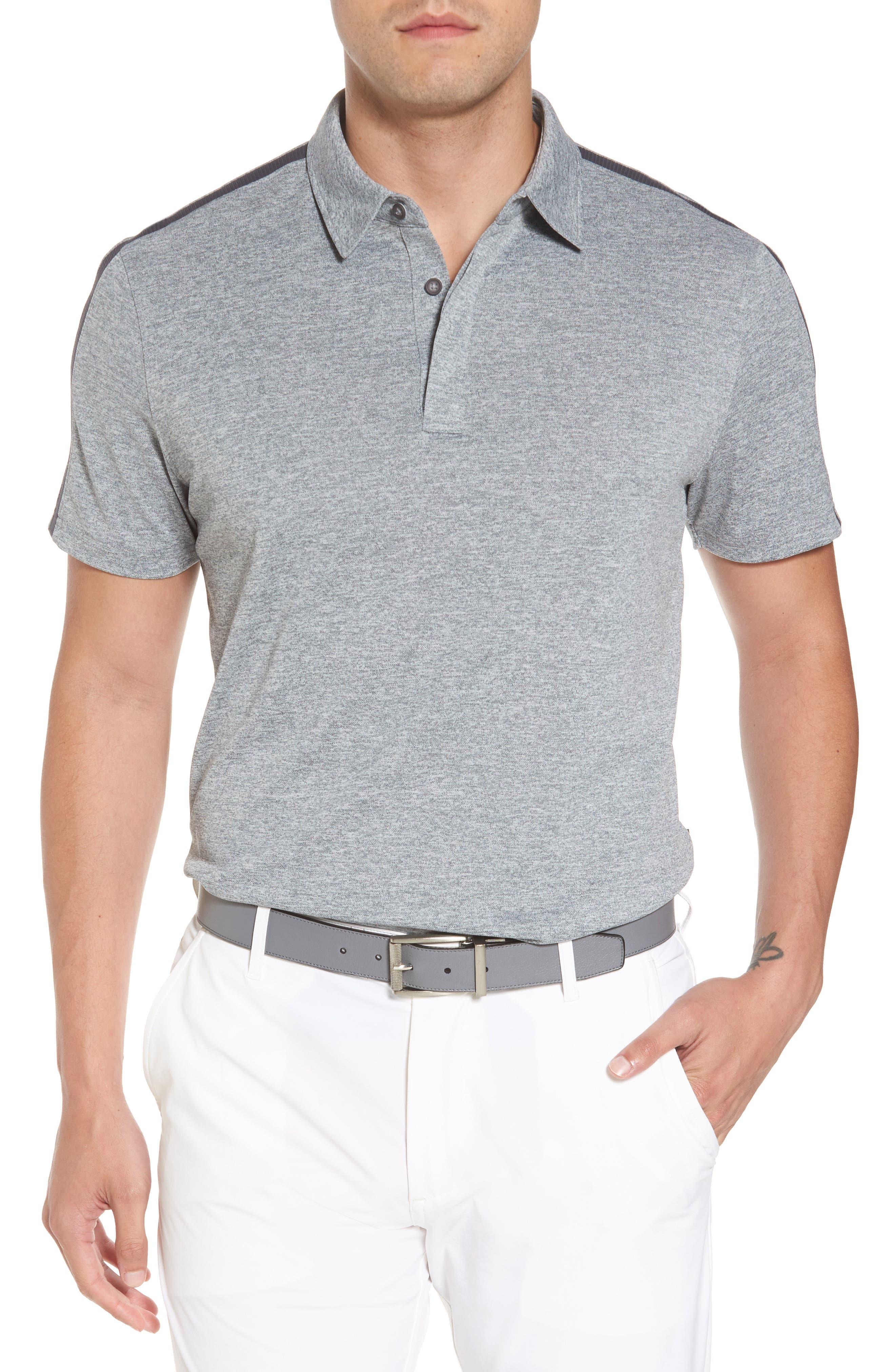 Felton Shoulder Stripe Polo,                         Main,                         color, 9-Iron Grey Melange