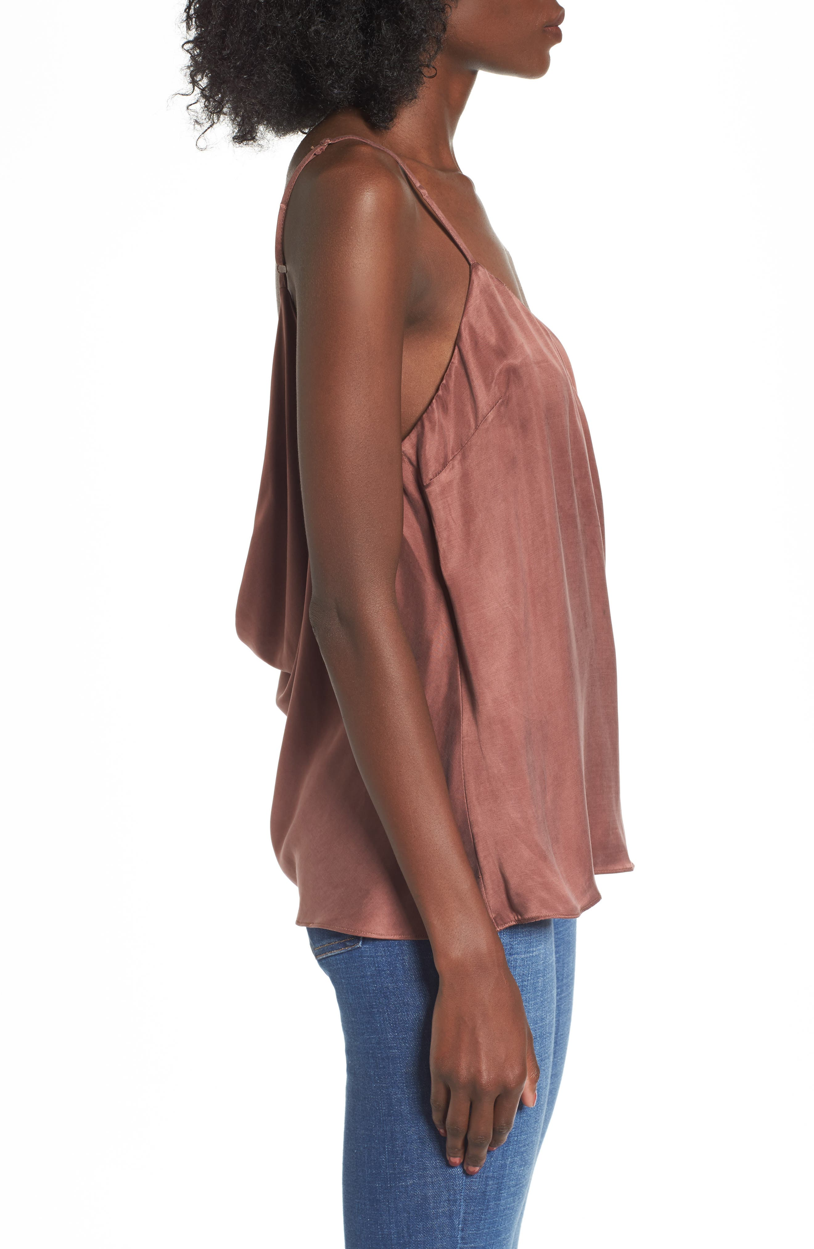 Monica Drape Back Camisole,                             Alternate thumbnail 3, color,                             Chocolate Rose