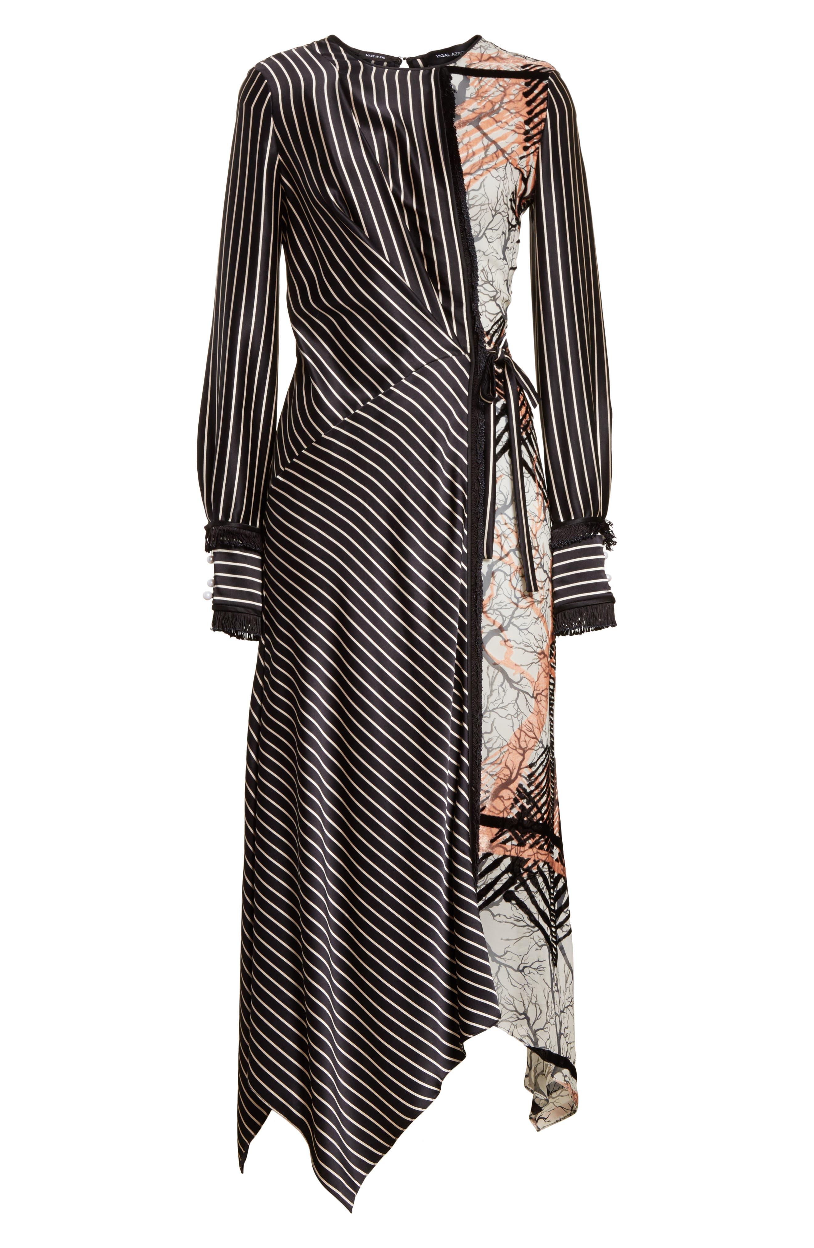 Alternate Image 6  - Yigal Azrouël Fringe Trim Asymmetrical Stripe Silk Dress