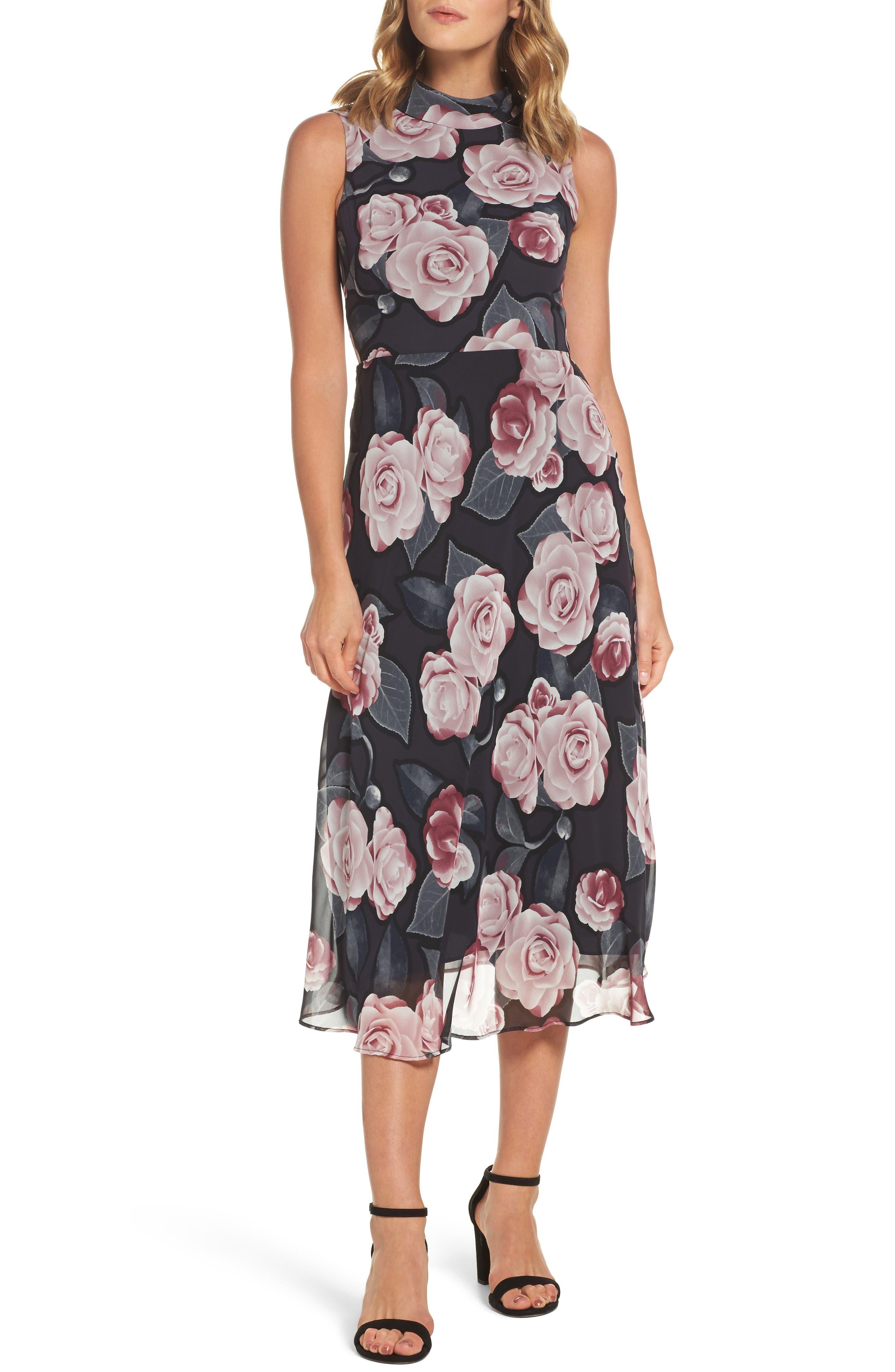 Tossed Rosewood Midi Dress,                         Main,                         color, Rosewood Grey