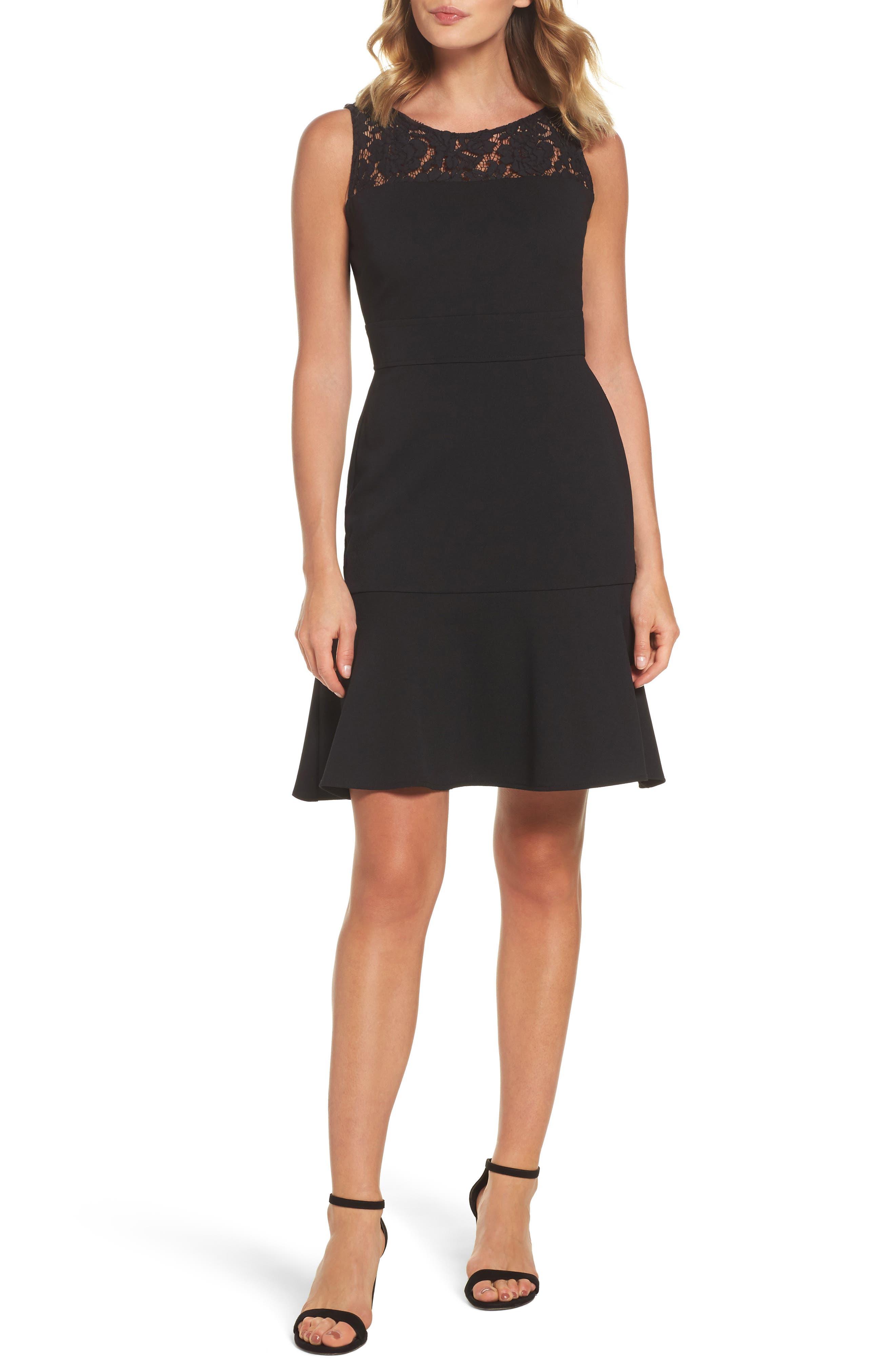 Lace Flounce Dress,                             Main thumbnail 1, color,                             Black