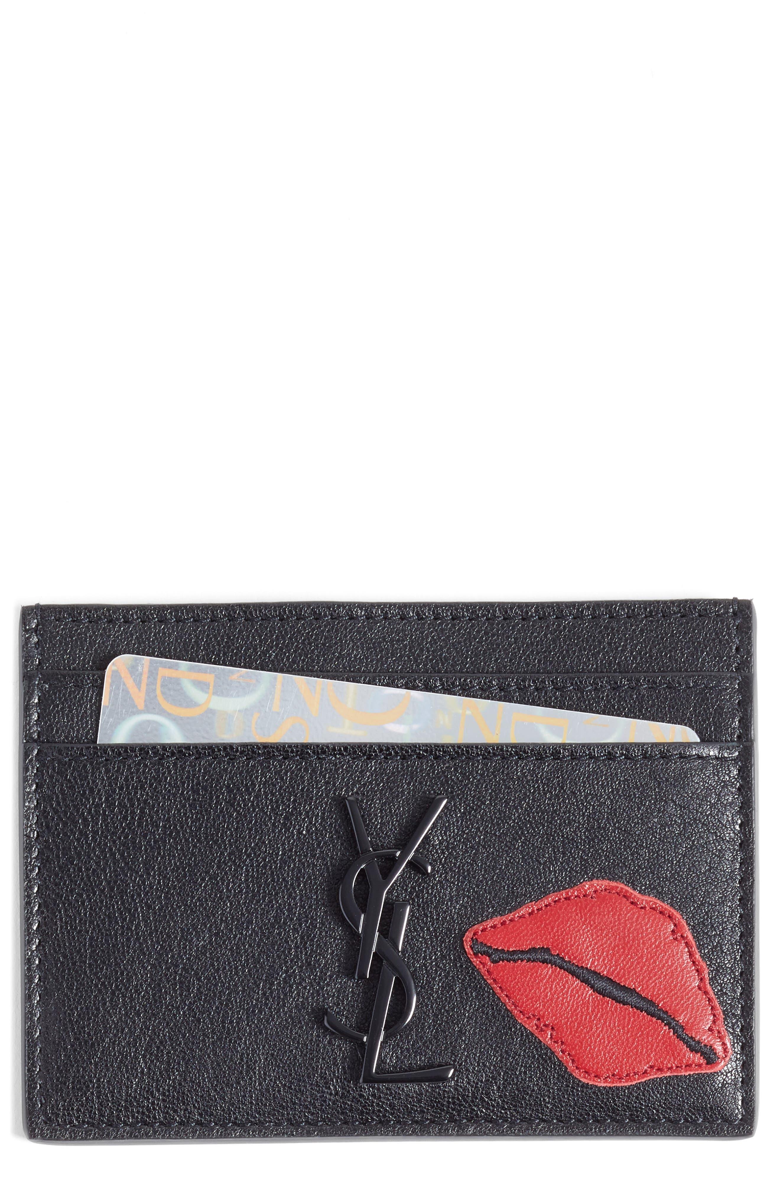 SAINT LAURENT Appliqué Lips Leather Card Holder