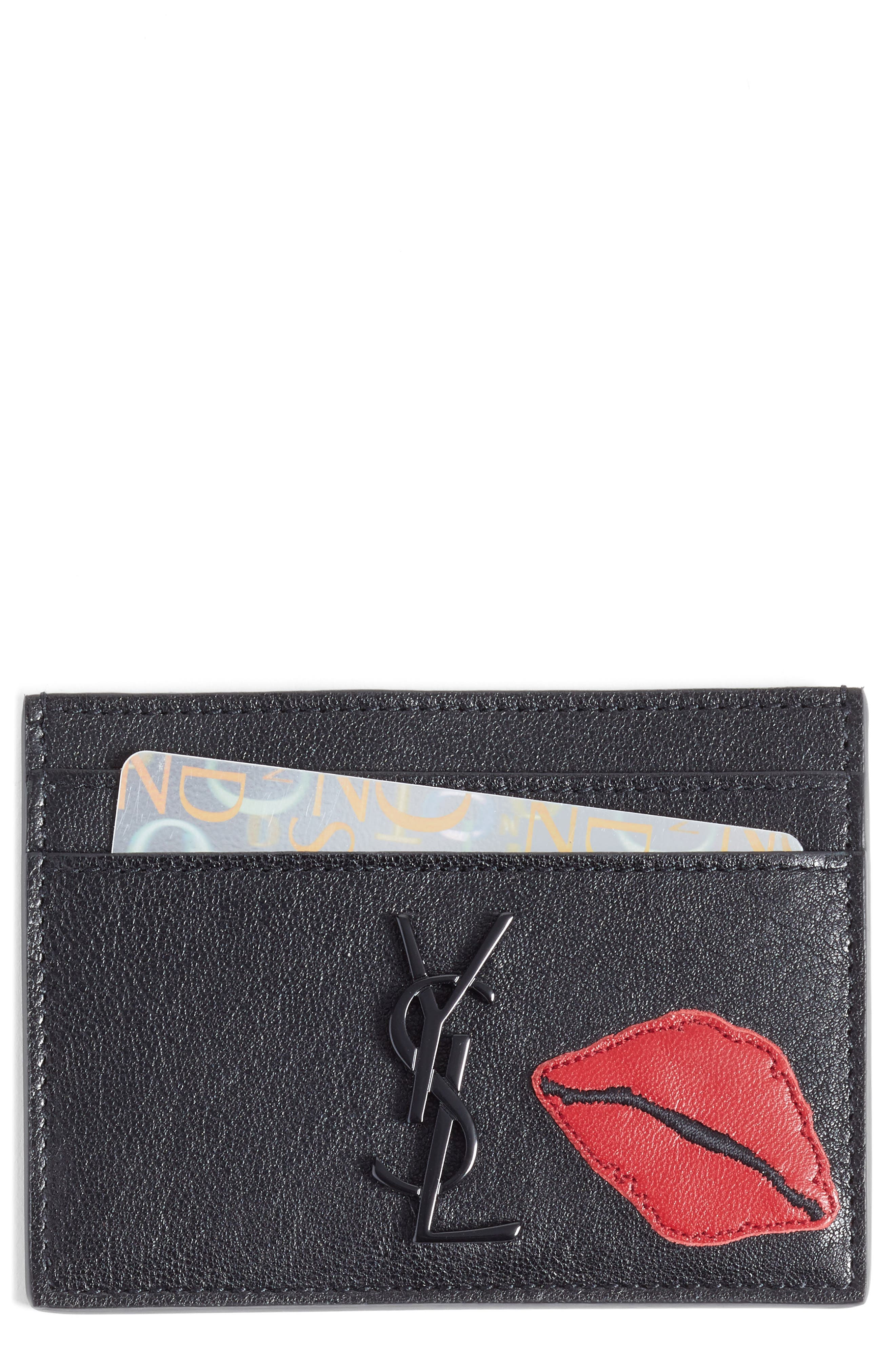 Saint Laurent Appliqué Lips Leather Card Holder