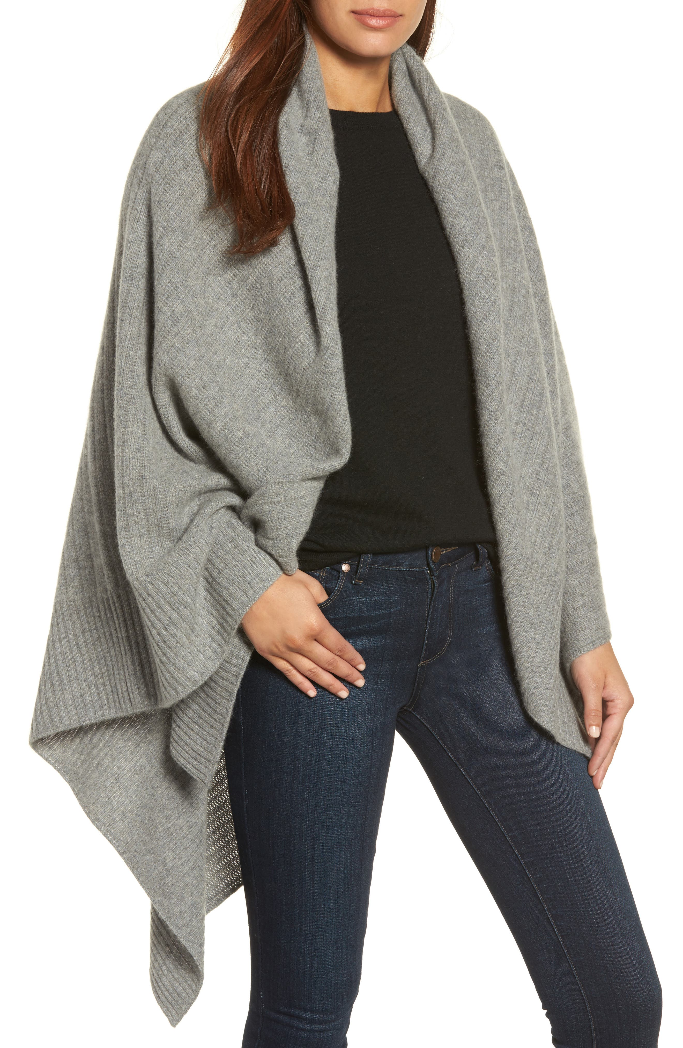 Cashmere Wrap,                         Main,                         color, Grey Med Htr